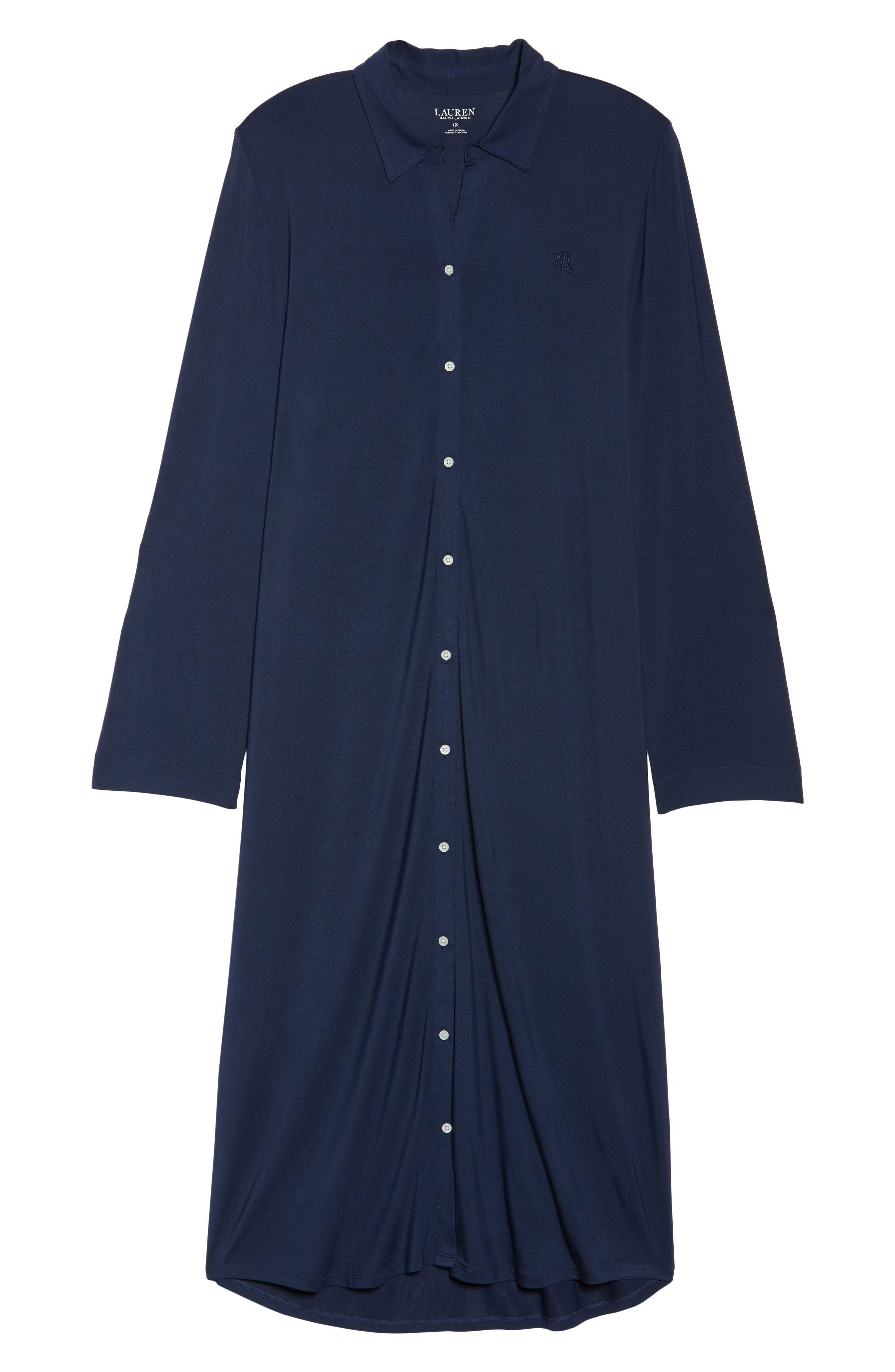 Alternate Image 4  - Lauren Ralph Lauren Long Nightshirt (Plus Size)