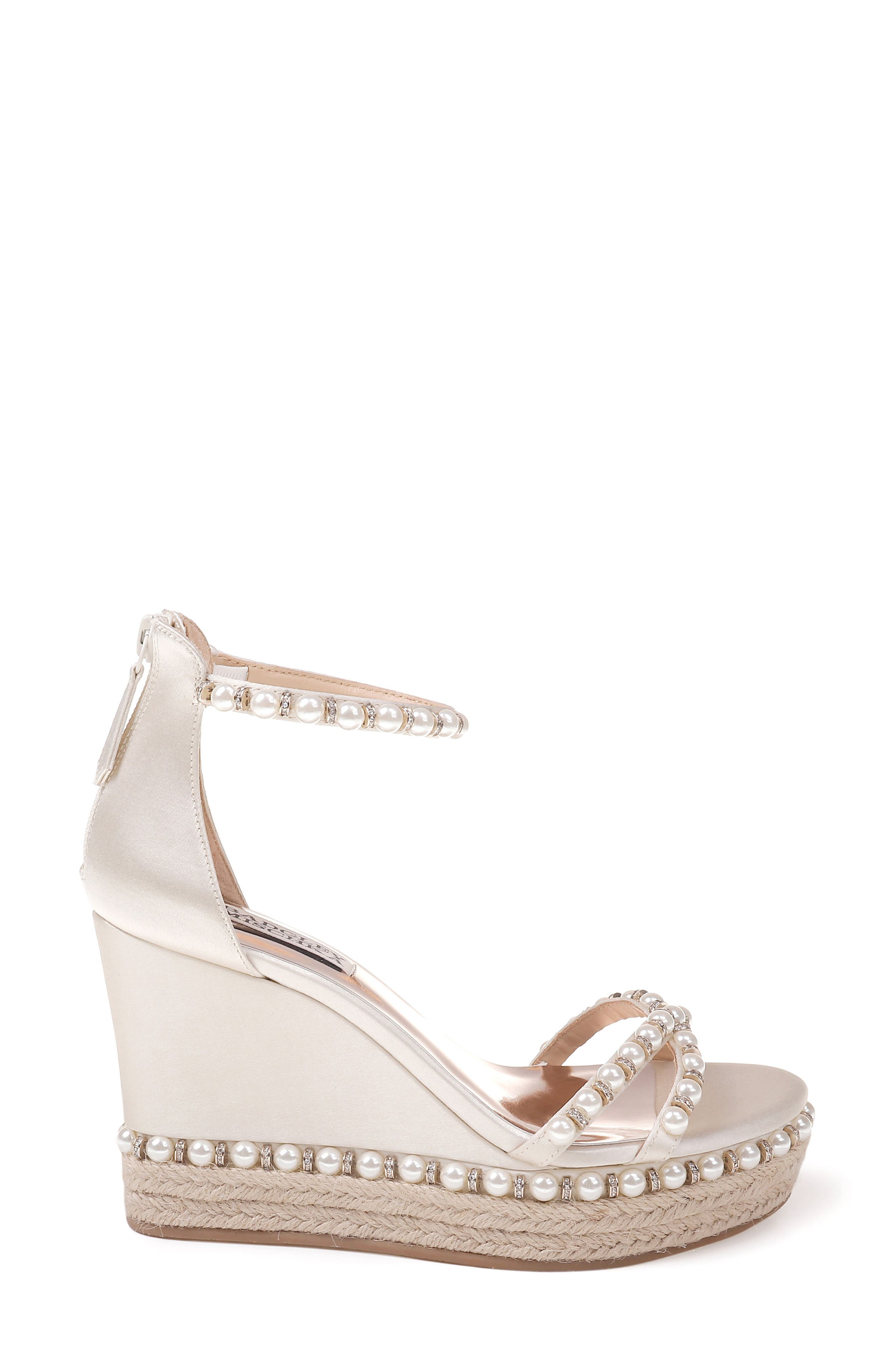 Sloan Wedge Sandal,                             Alternate thumbnail 3, color,                             Ivory Satin