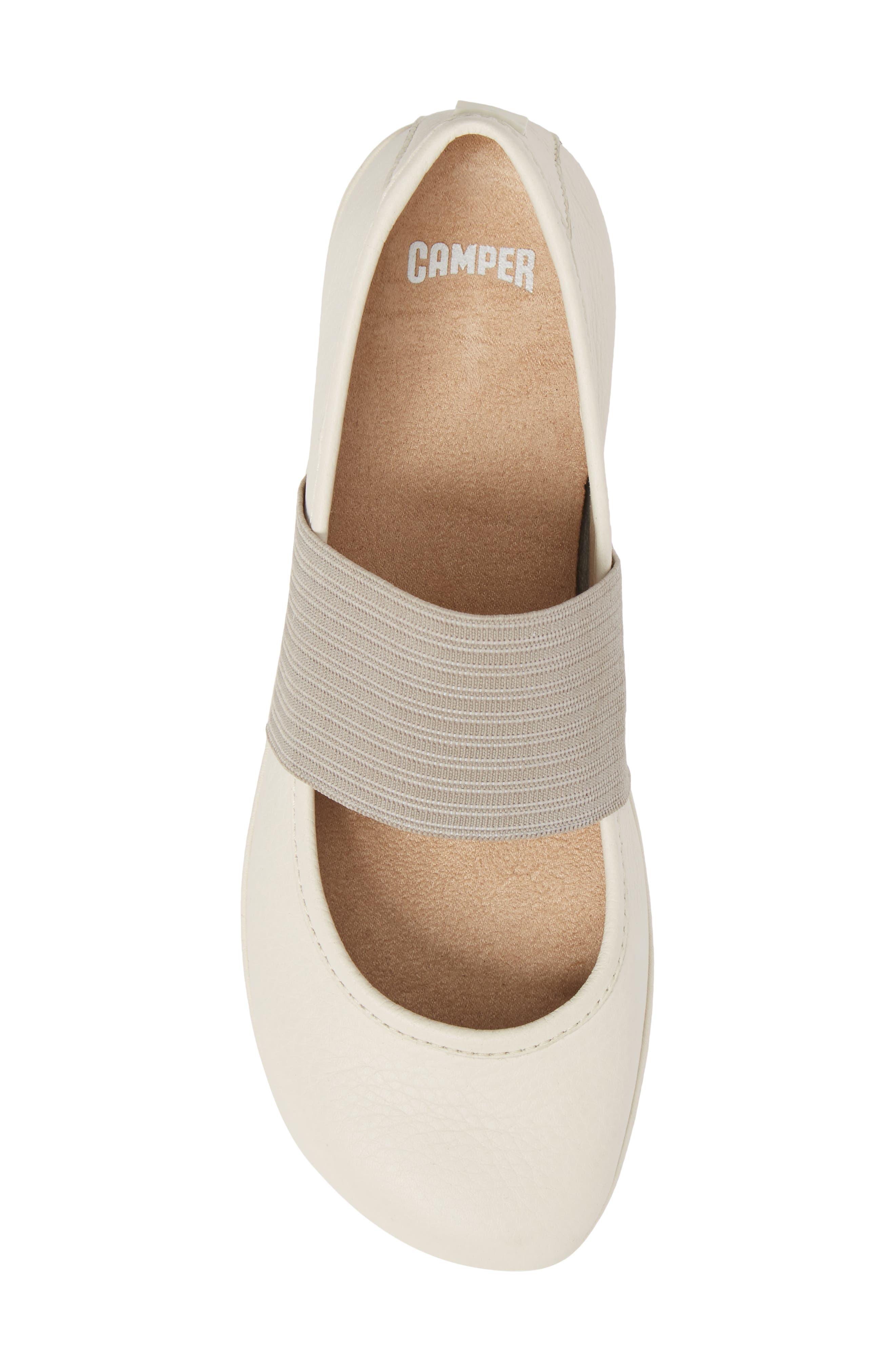 'Right Nina' Leather Ballerina Flat,                             Alternate thumbnail 5, color,                             Light Beige Leather