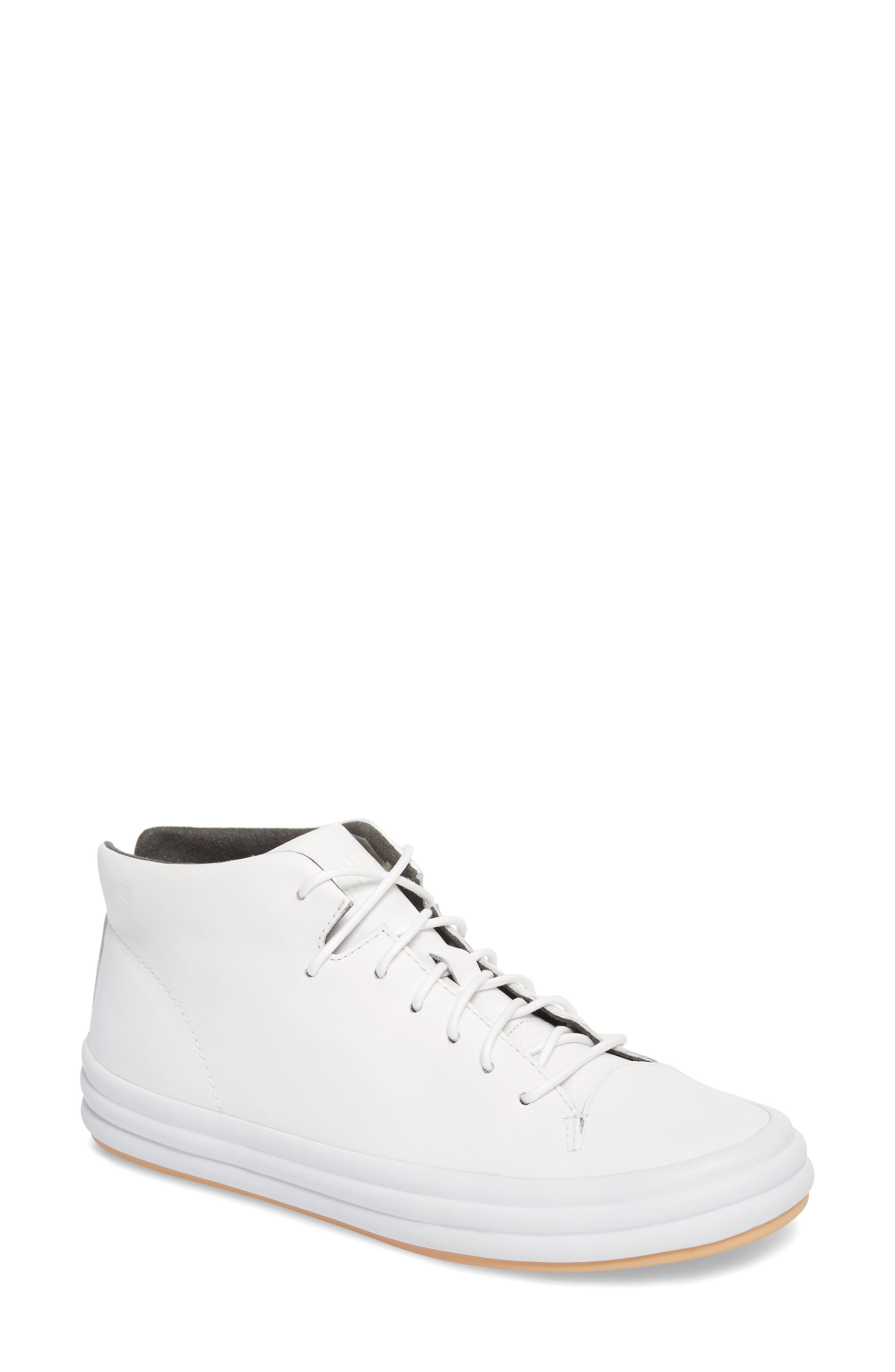 Hoops Mid Top Sneaker,                             Main thumbnail 1, color,                             White Natural Leather