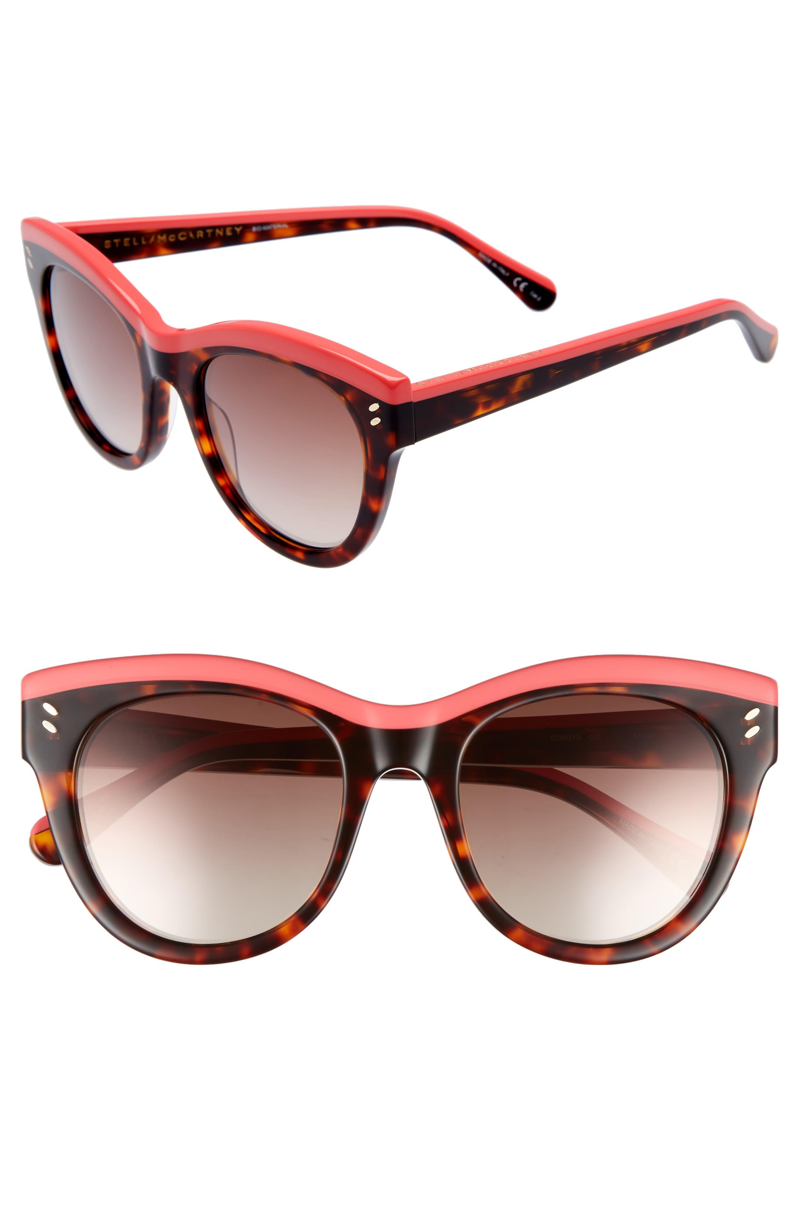 51mm Cat Eye Sunglasses,                             Main thumbnail 1, color,                             Pink/ Avana