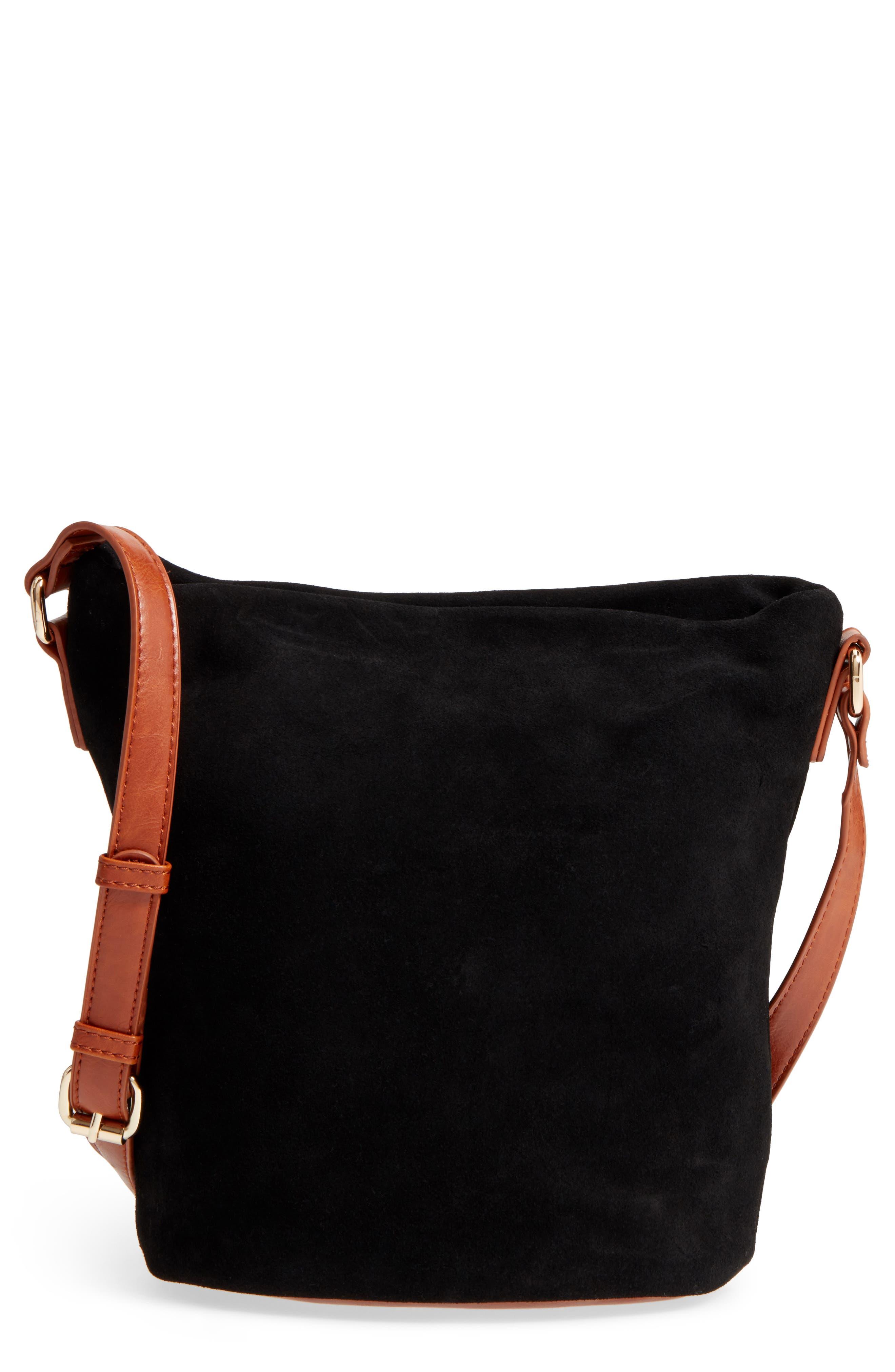 Lana Slouchy Suede Crossbody Bag,                             Main thumbnail 1, color,                             Black Cognac