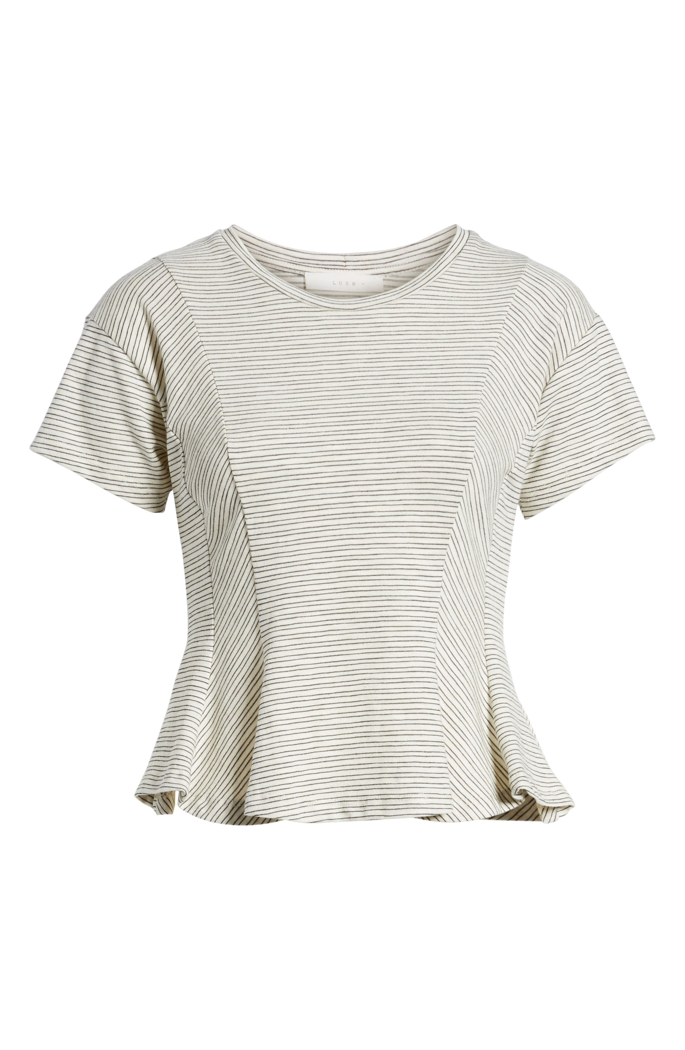 Stripe Peplum Tee,                             Alternate thumbnail 7, color,                             Ivory-Black Stripes
