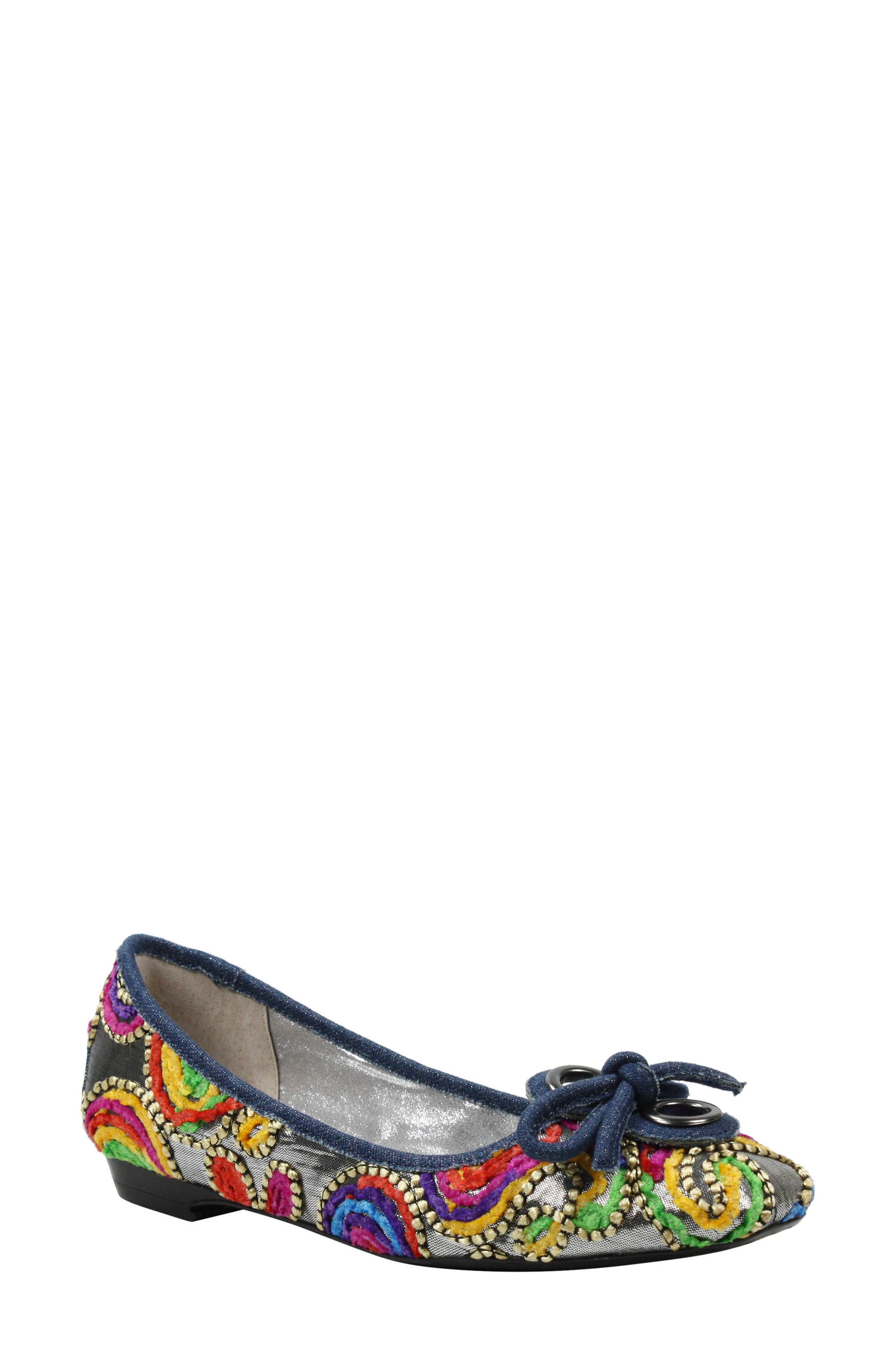 'Edie' Skimmer Flat,                         Main,                         color, Silver/ Bright Fabric