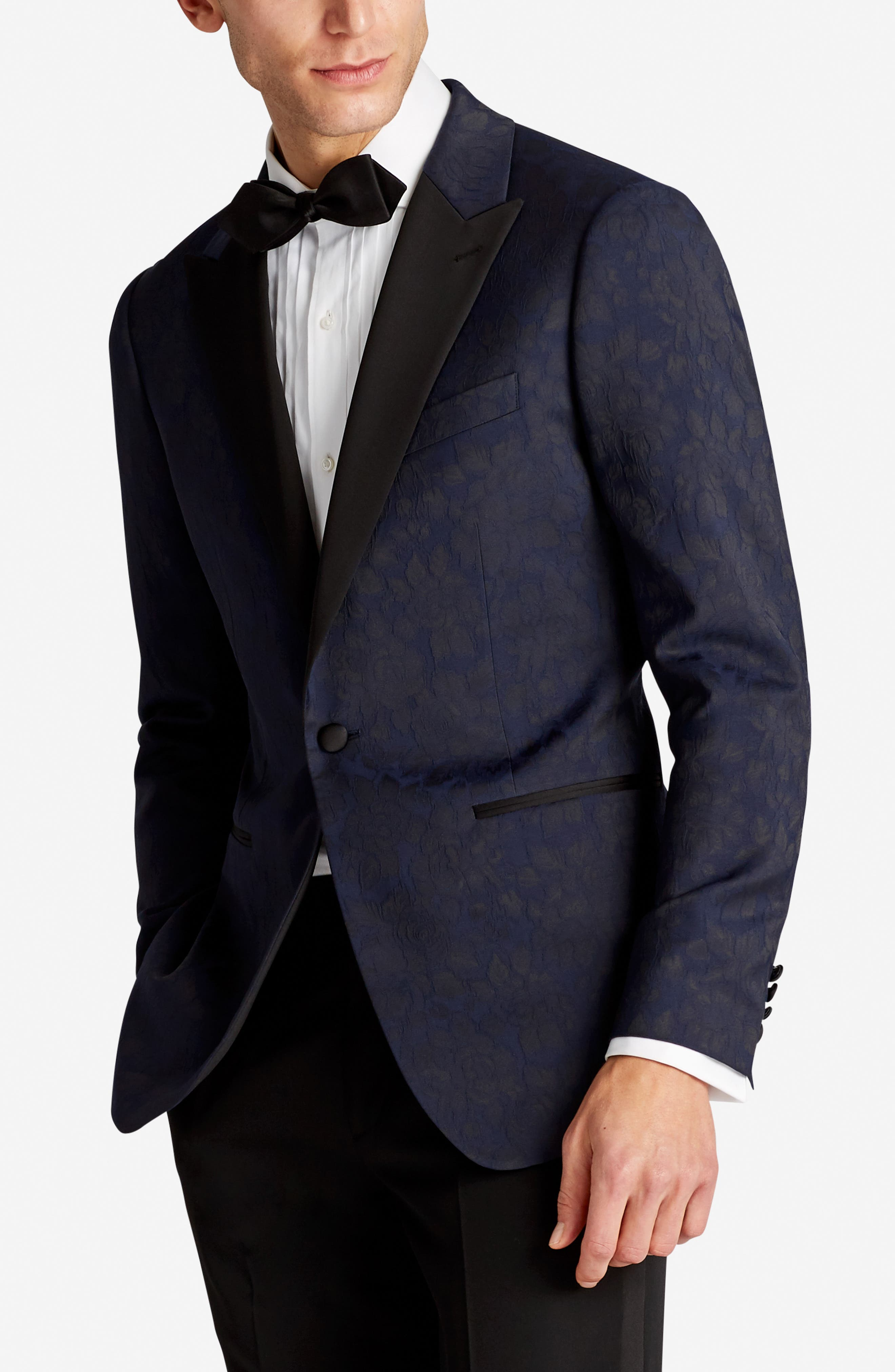 Capstone Slim Fit Stretch Dinner Jacket,                             Alternate thumbnail 3, color,                             Floral Jacquard