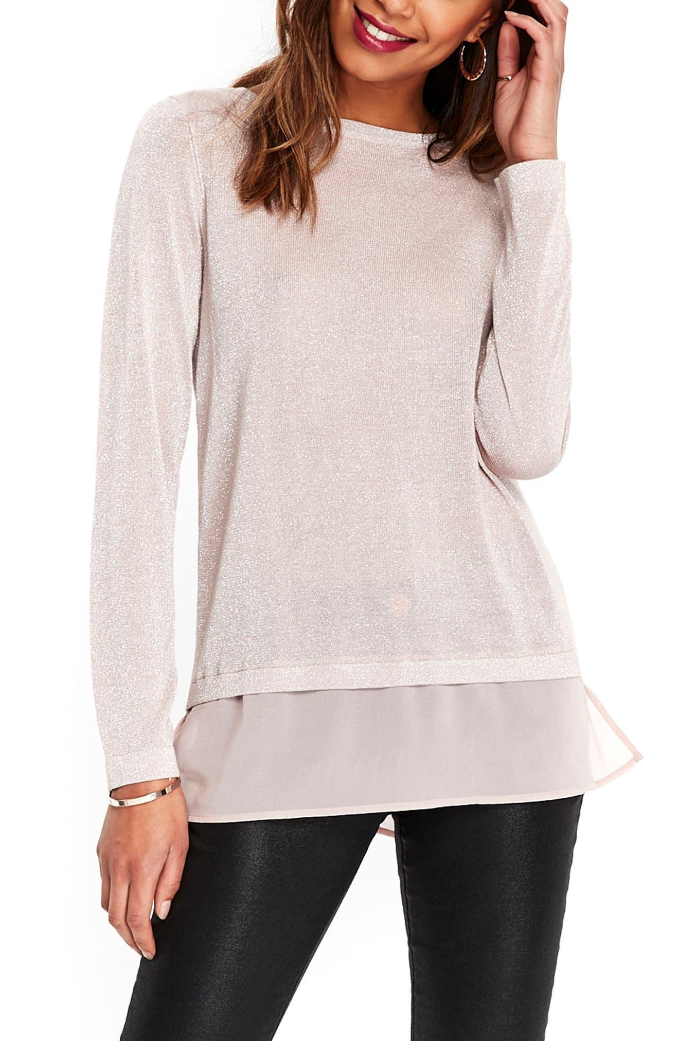 Wallis Metallic Split Back Sweater