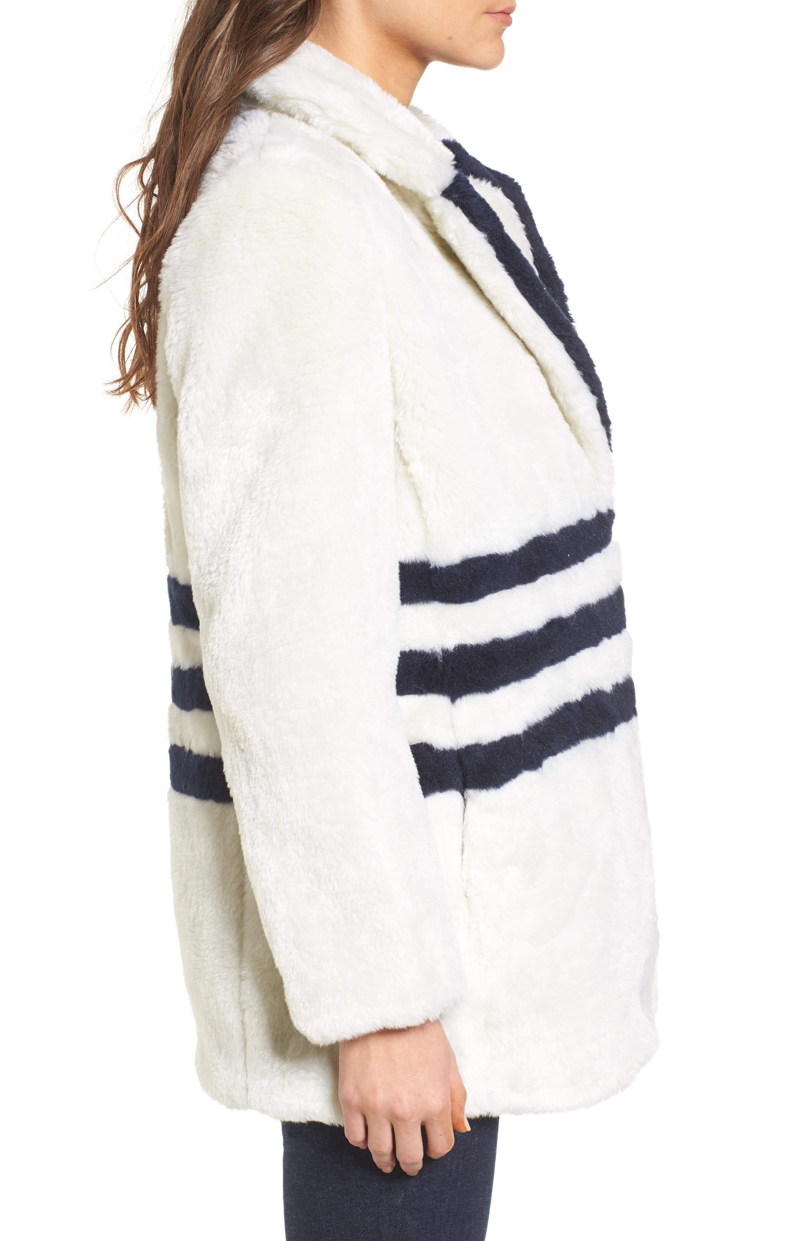 J.Crew Yuna Teddy Faux Fur Jacket,                             Alternate thumbnail 3, color,                             Ivory/ Navy