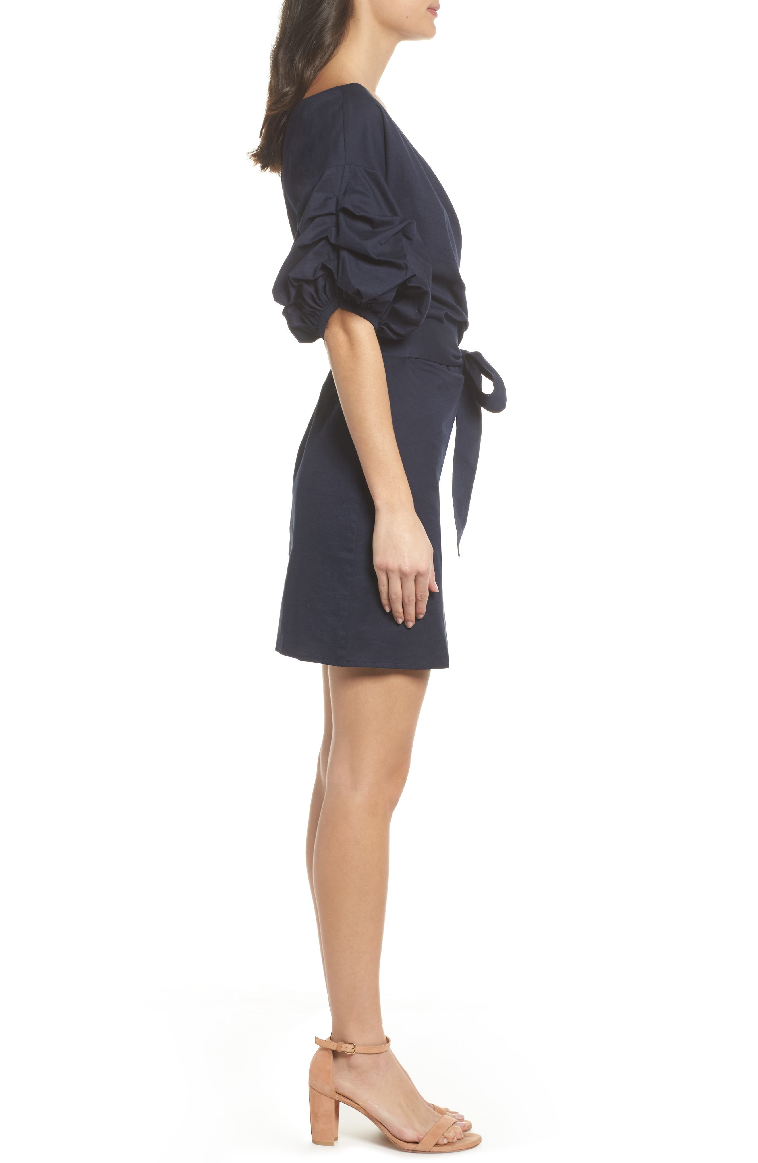 Billow Sleeve Dress,                             Alternate thumbnail 5, color,                             Navy Sapphire