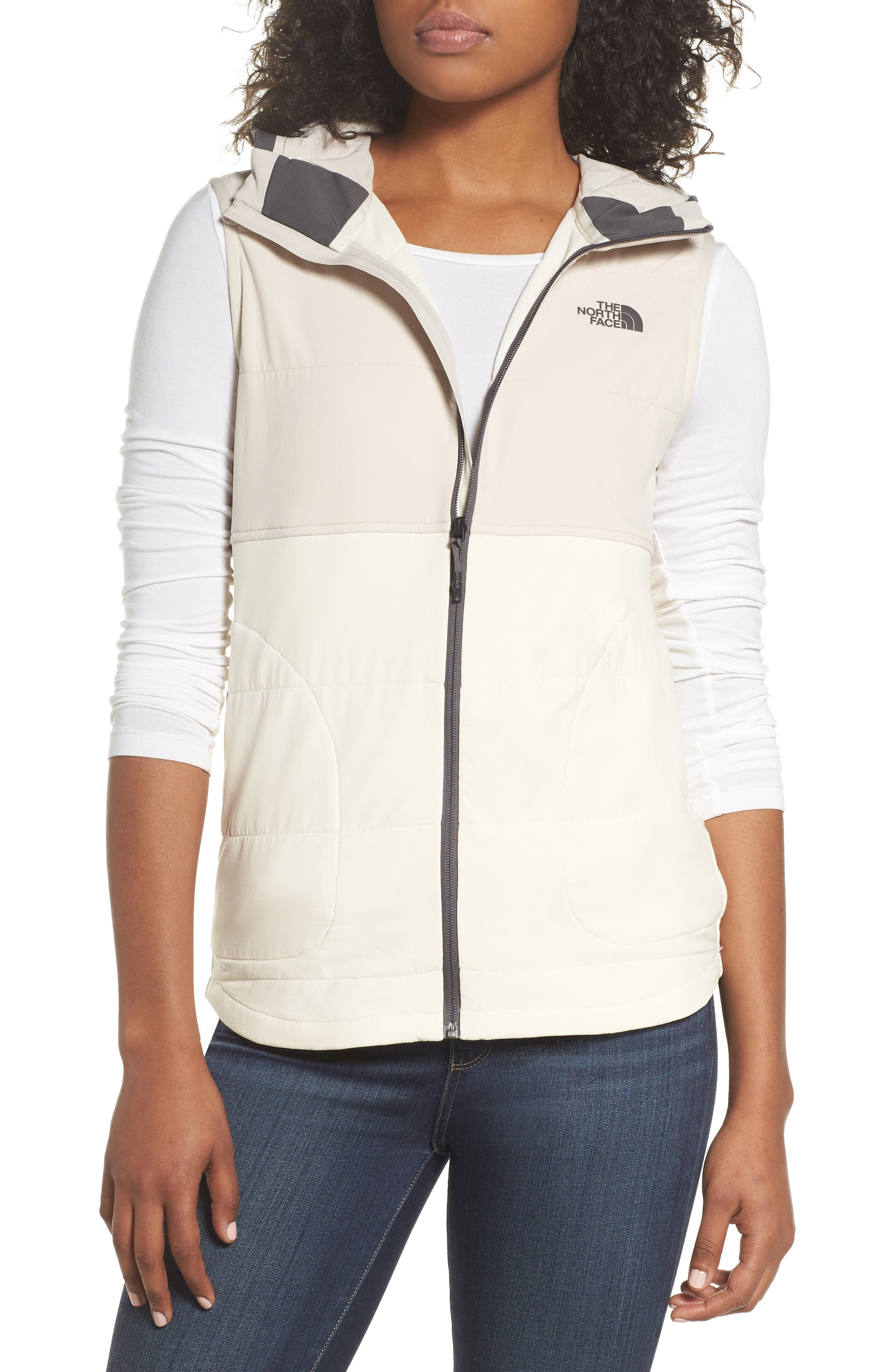 Mountain Sweatshirt Insulated Hooded Vest,                             Main thumbnail 1, color,                             Vintage White/ Peyote Beige