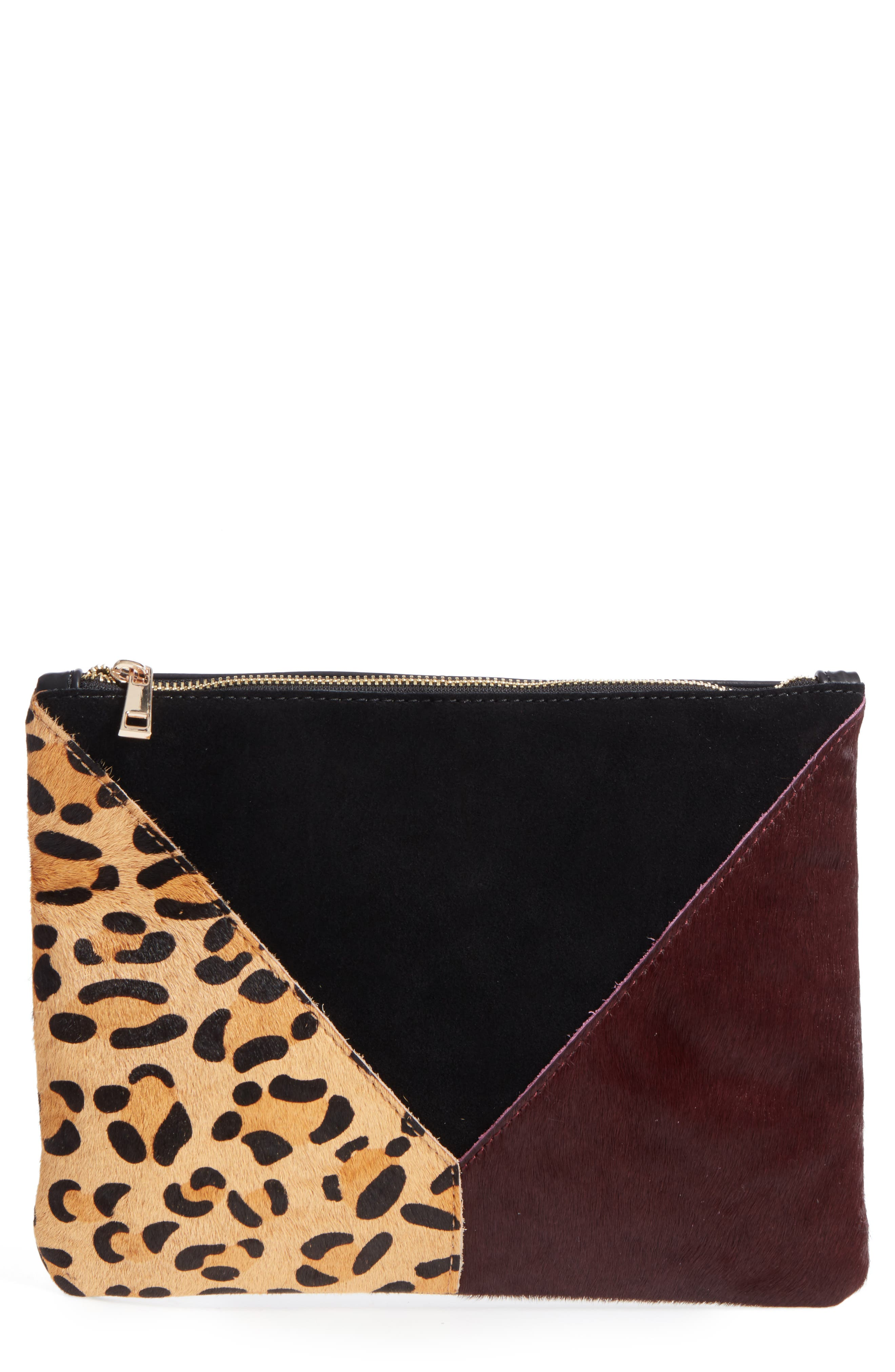 Shailey Patchwork Genuine Calf Hair Clutch,                         Main,                         color, Leopard Multi