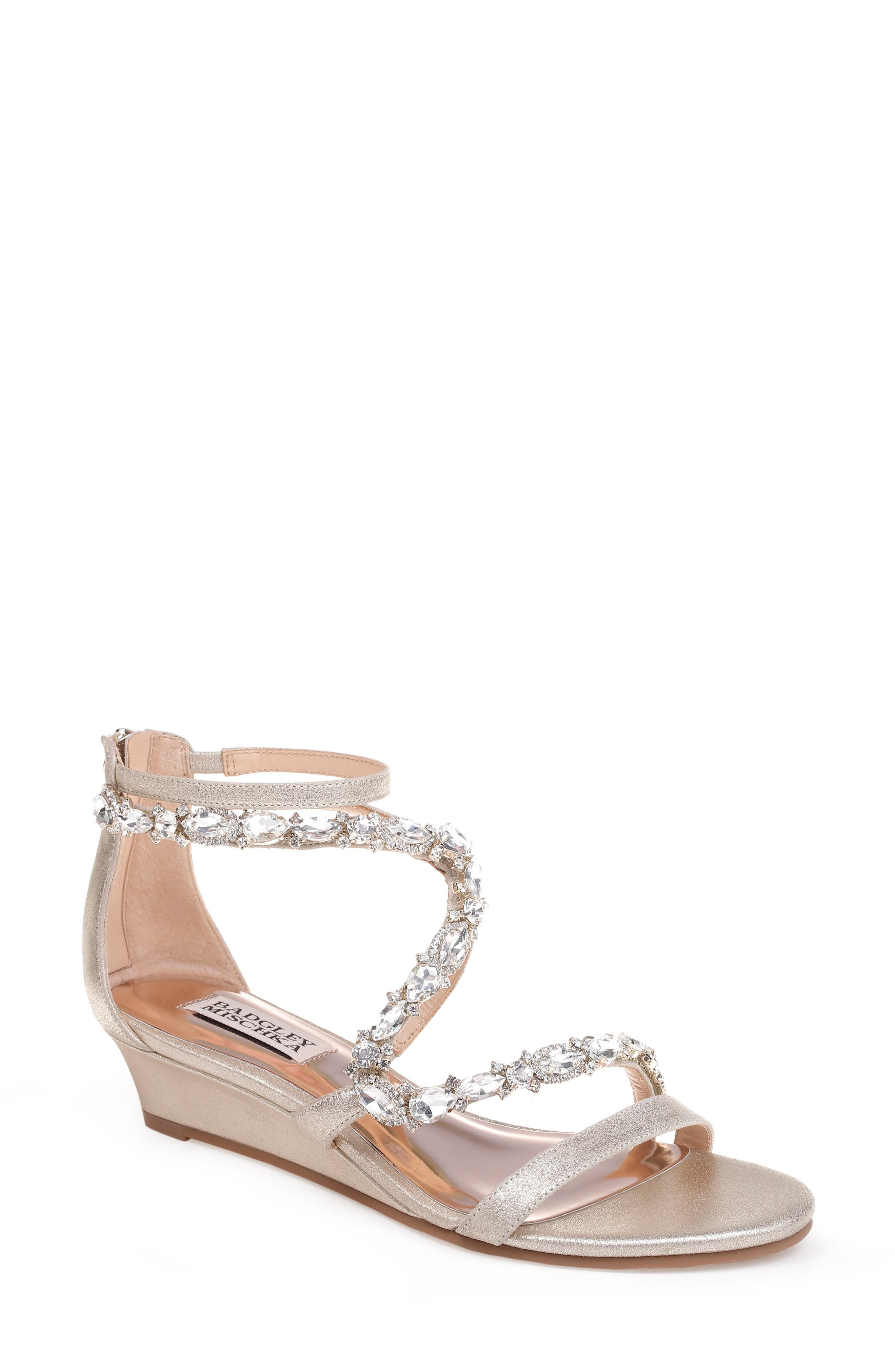 Sierra Strappy Wedge Sandal,                         Main,                         color, Platino Suede