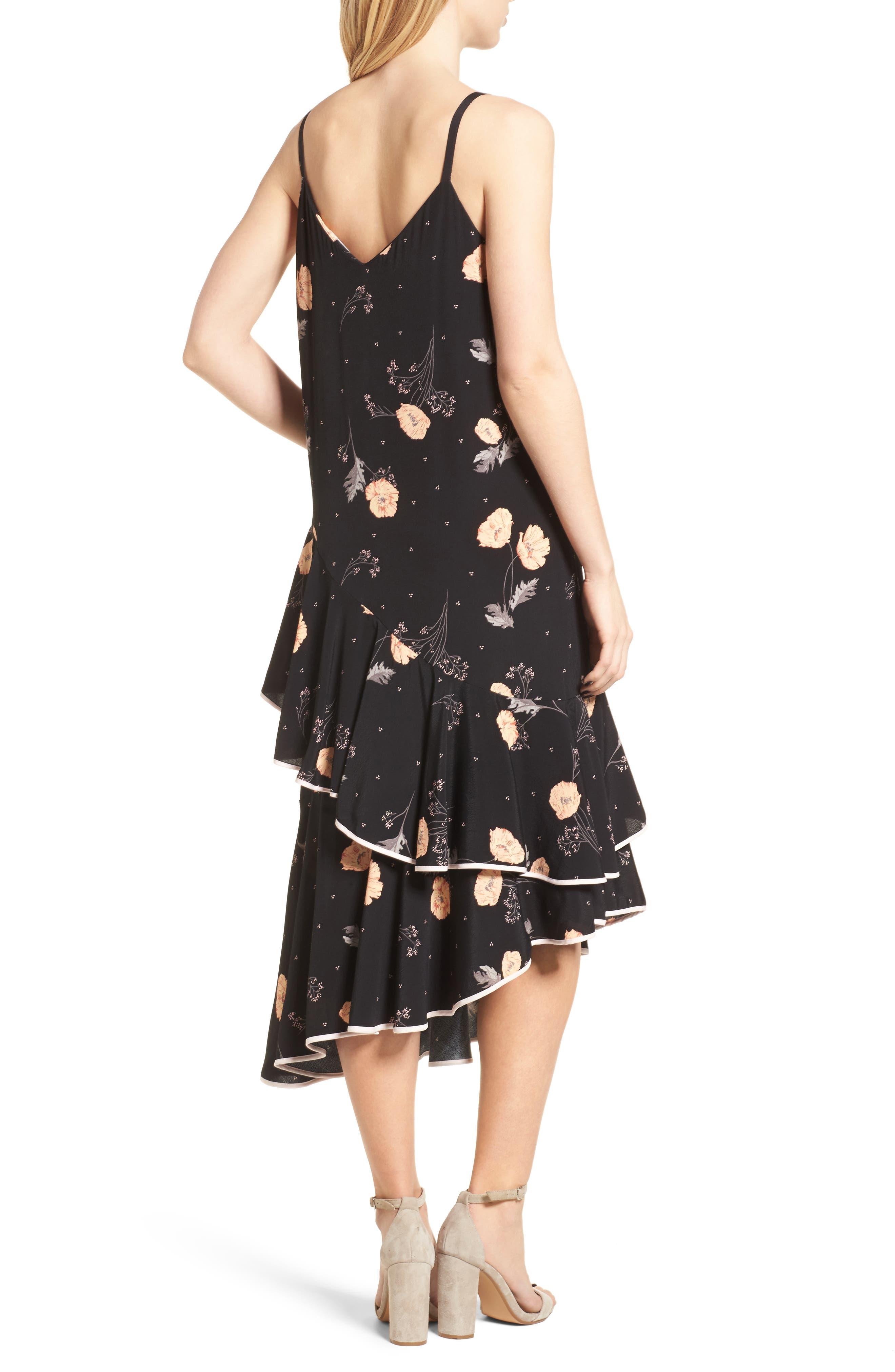Asymmetrical Ruffle Midi Dress,                             Alternate thumbnail 2, color,                             Black Spring Bloom