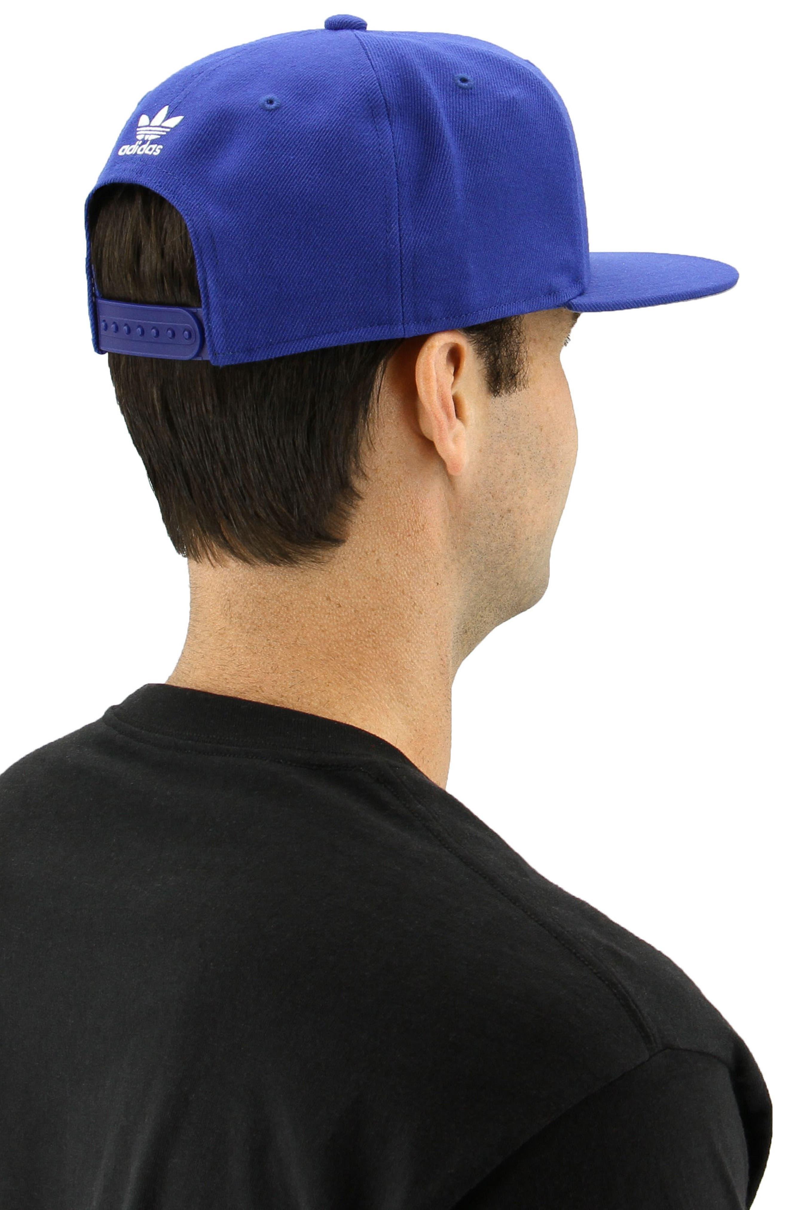 Trefoil Snapback Baseball Cap,                             Alternate thumbnail 4, color,                             Med Blue
