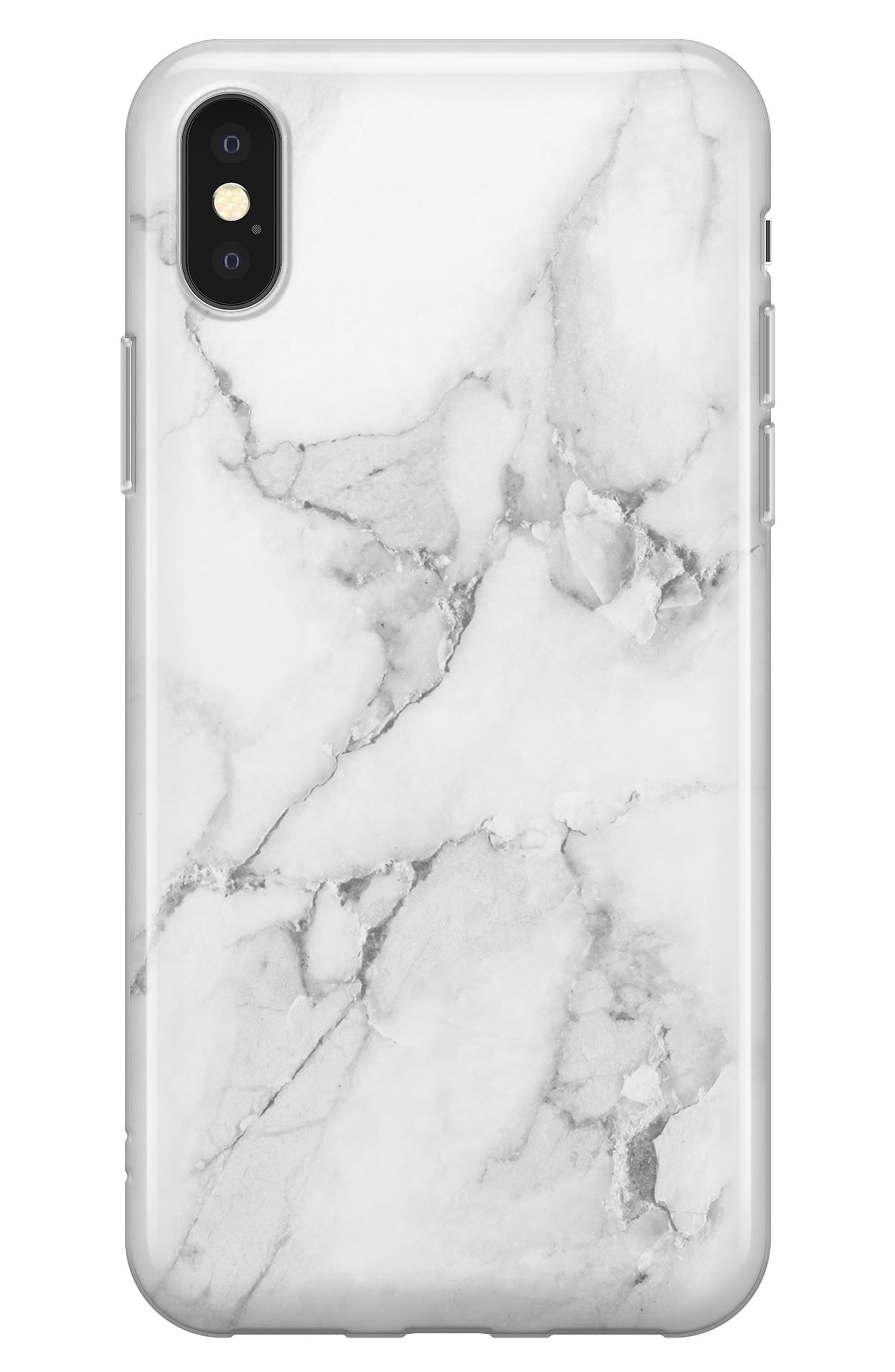 White Marble iPhone X Case,                         Main,                         color, White Marble