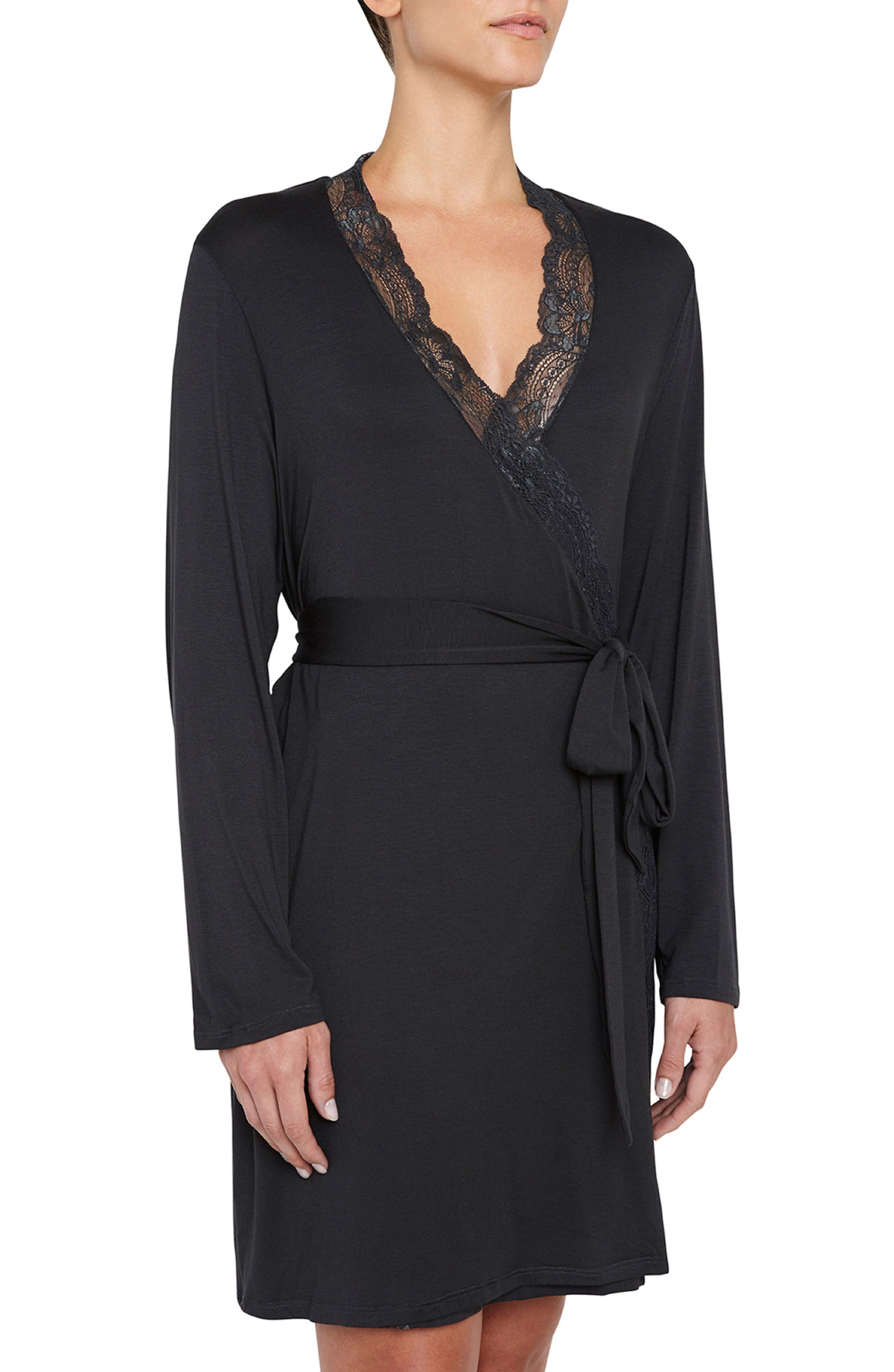 'Everly'LaceTrim JerseyRobe,                             Main thumbnail 1, color,                             Thunderstorm