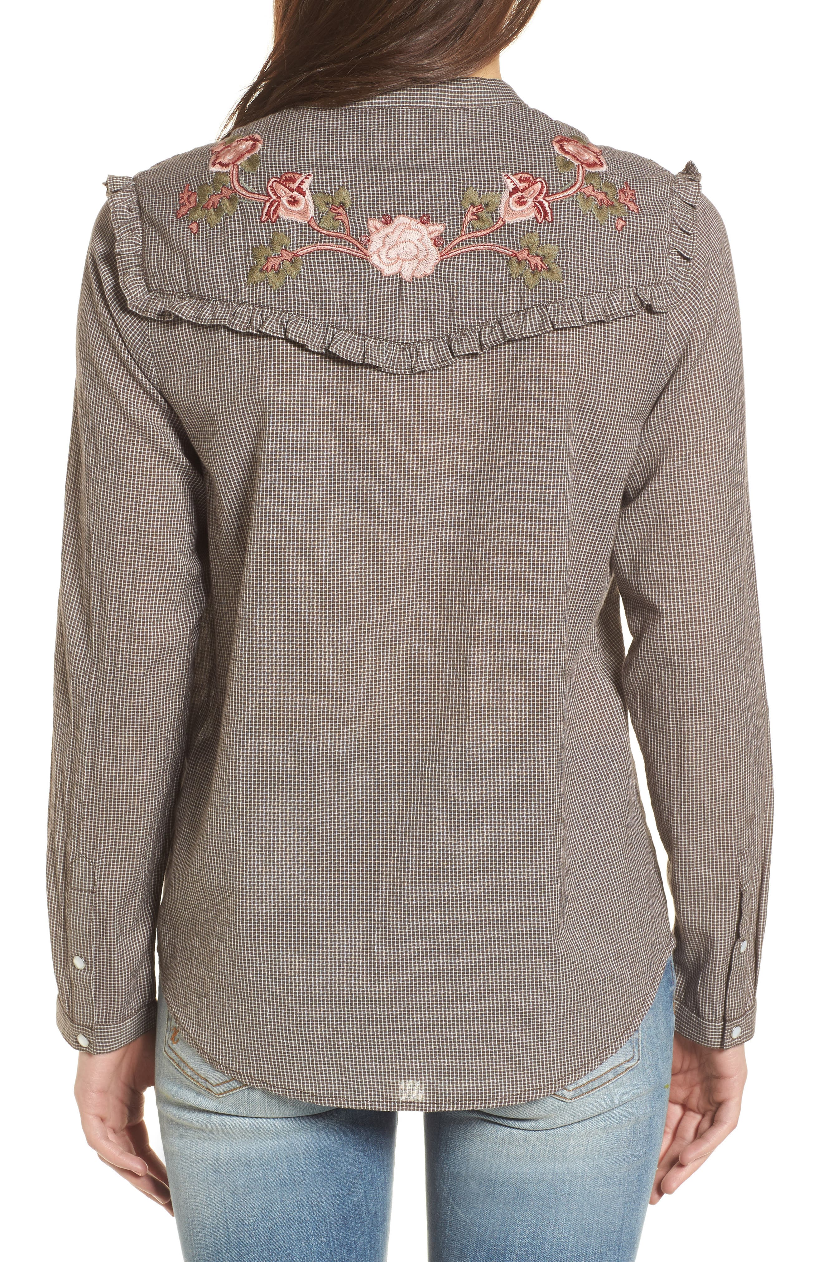Embroidered Western Shirt,                             Alternate thumbnail 2, color,                             Grey Multi