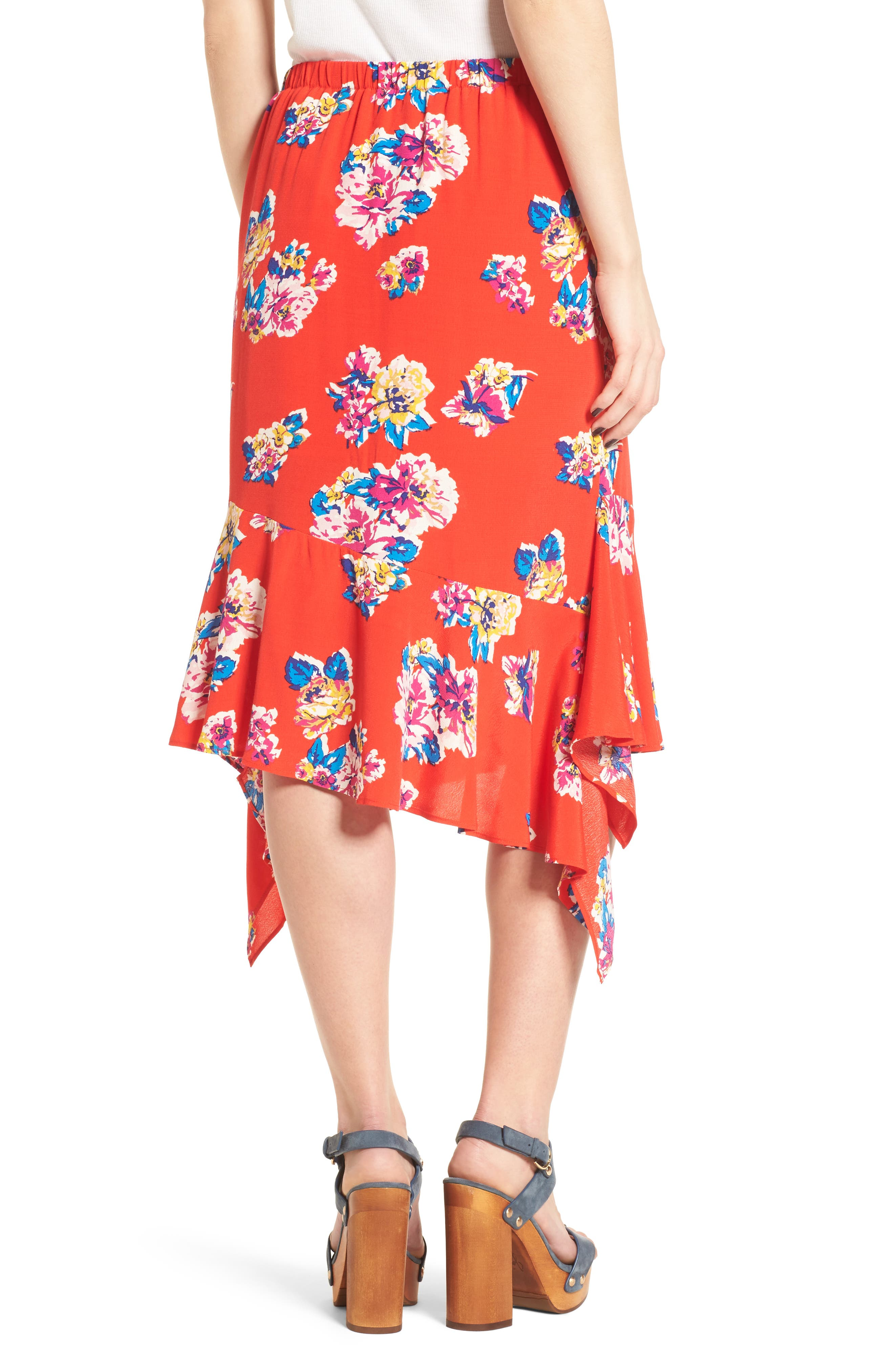 Floral Ruffle Hem Skirt,                             Alternate thumbnail 2, color,                             Red Field Bold Bloom
