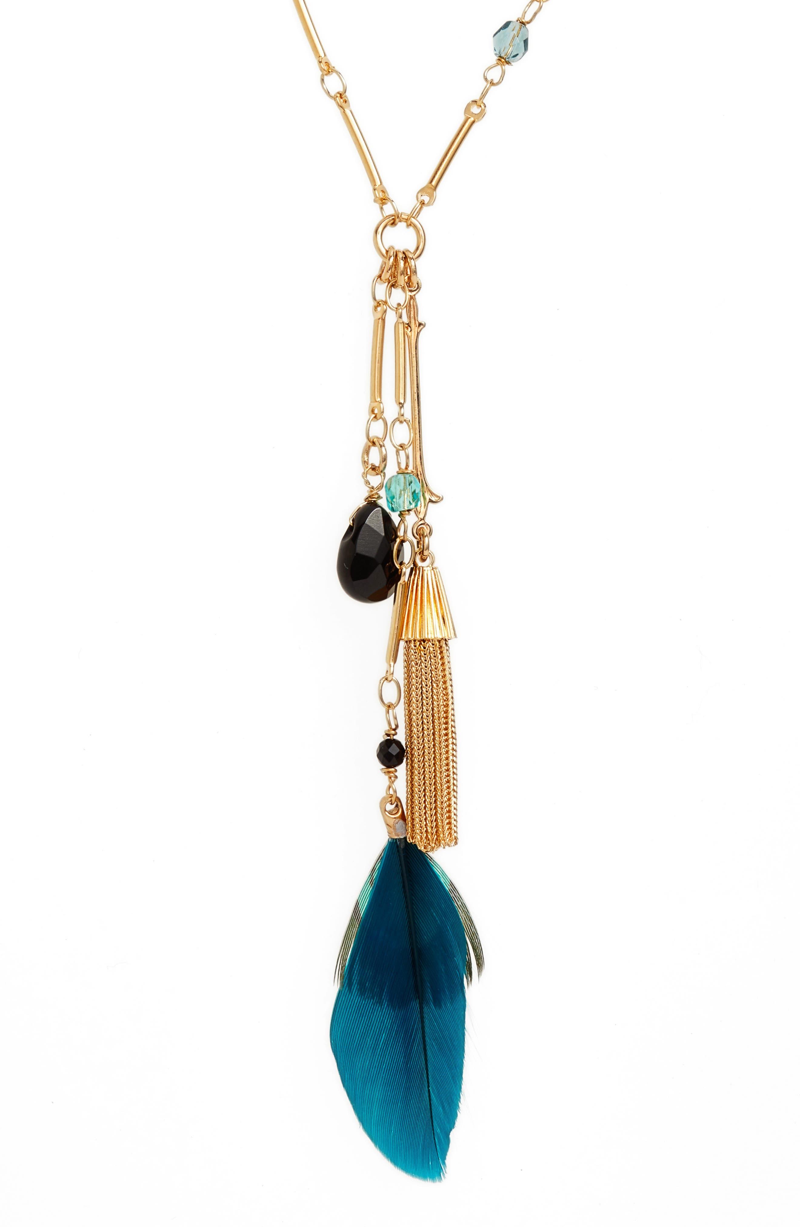 California Pendant Necklace,                             Alternate thumbnail 2, color,                             Blue Teal/ Gold