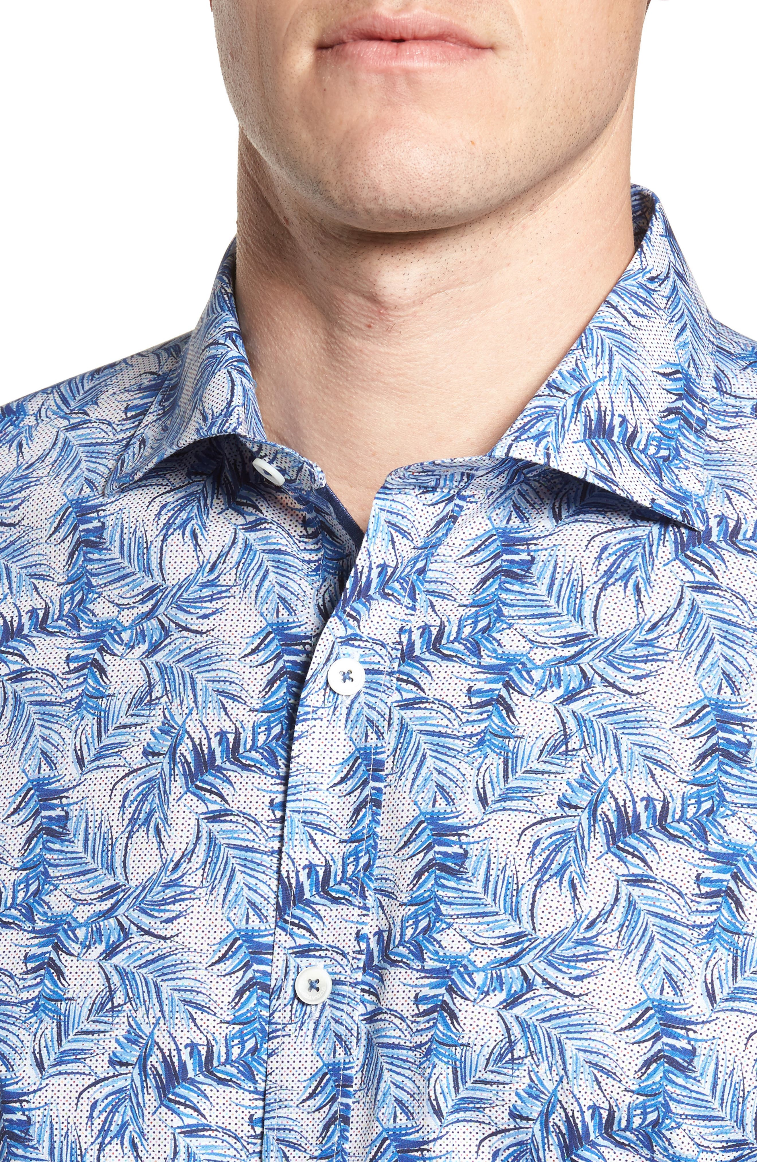 Shaped Fit Print Sport Shirt,                             Alternate thumbnail 4, color,                             Navy