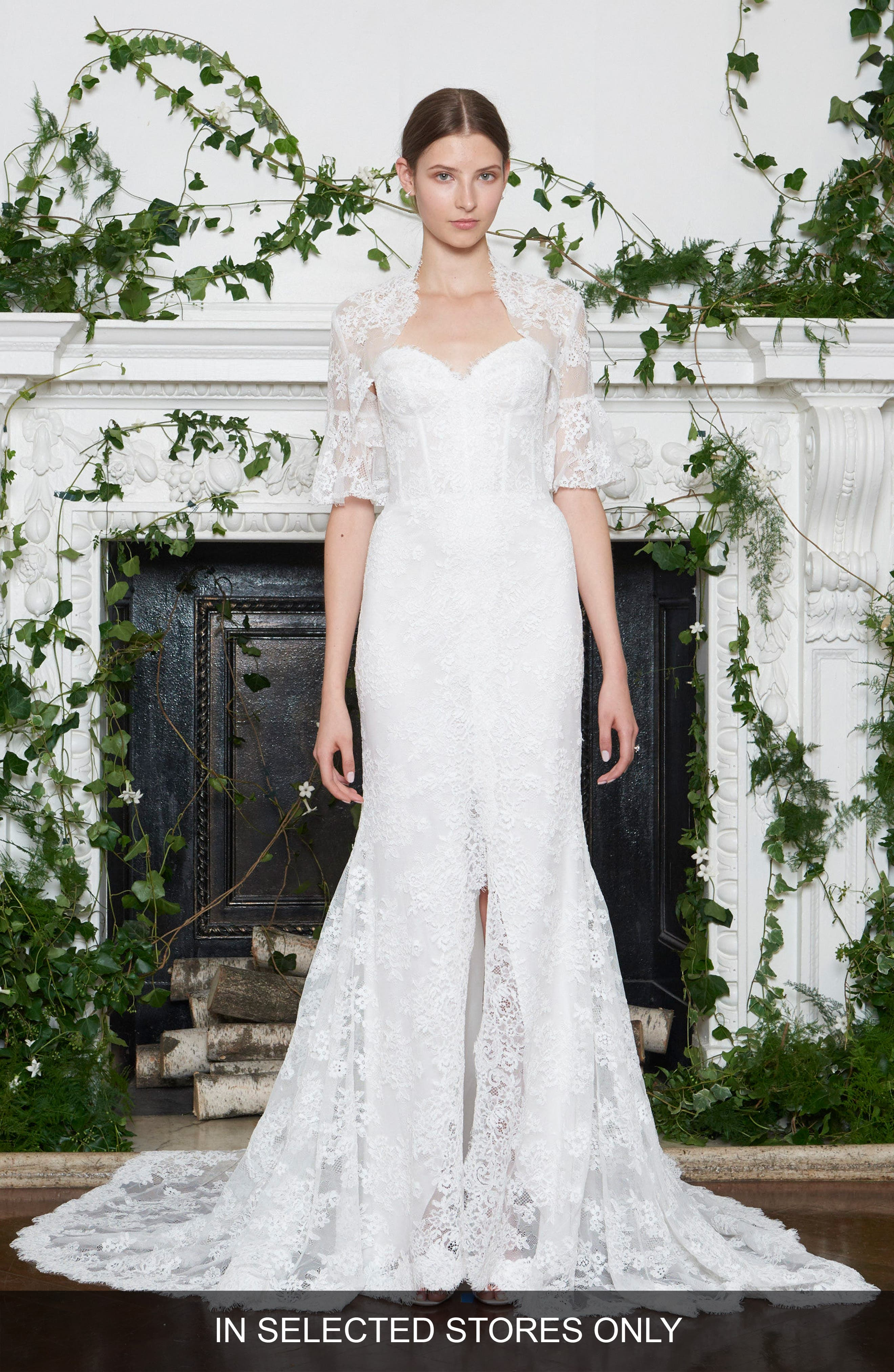 Strapless Lace Trumpet Gown,                         Main,                         color, Silk White