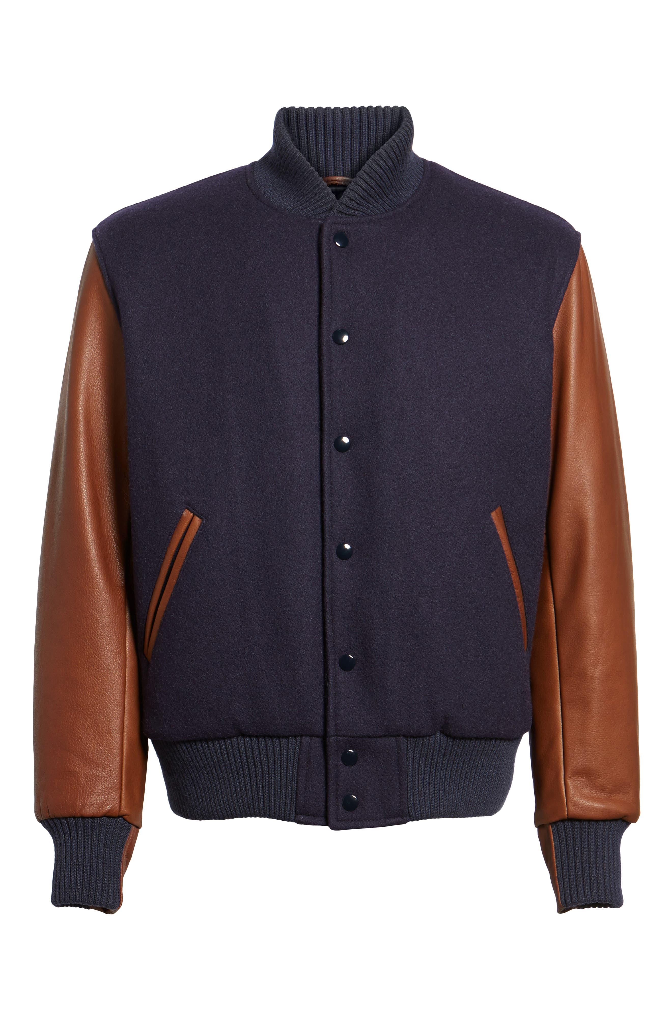 Classic Varsity Jacket,                             Alternate thumbnail 6, color,                             Navy