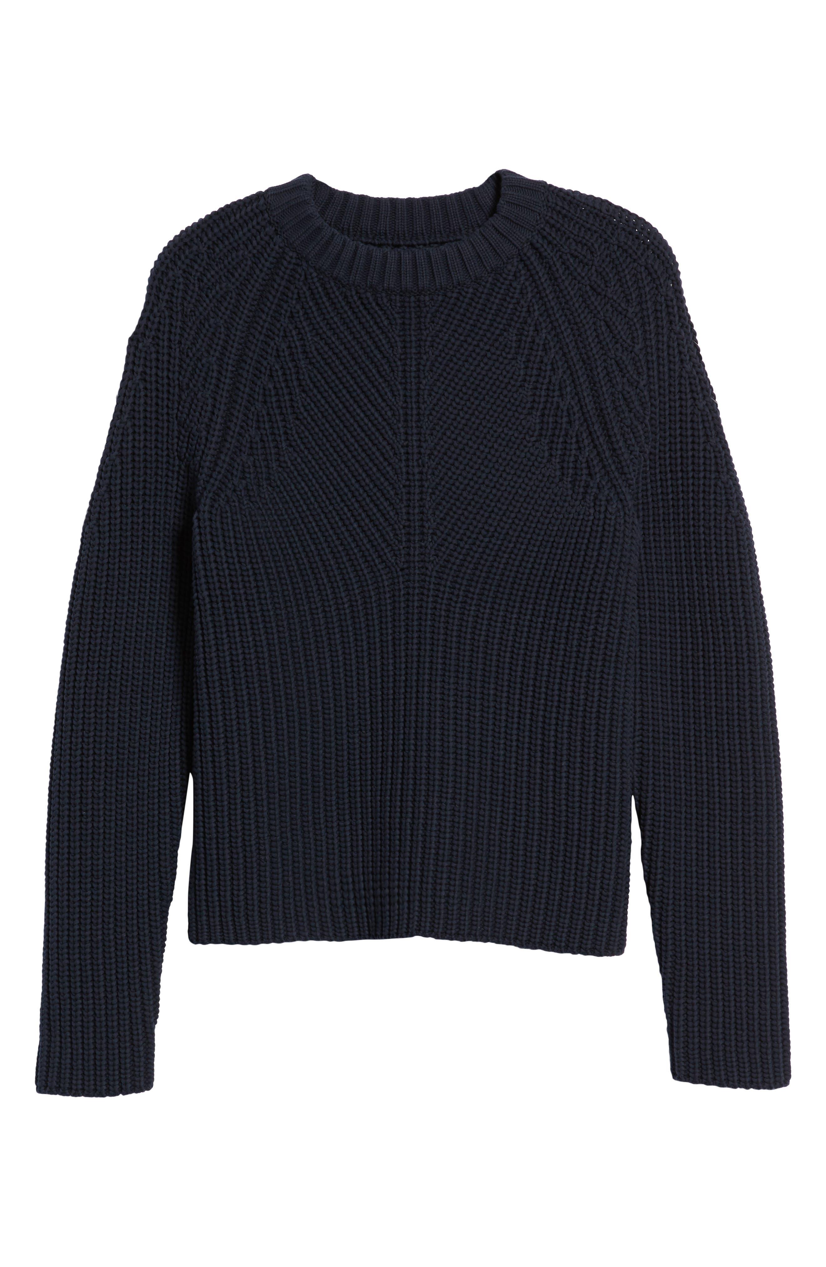 Raglan Sleeve Knit Sweater,                             Alternate thumbnail 6, color,                             Navy Night