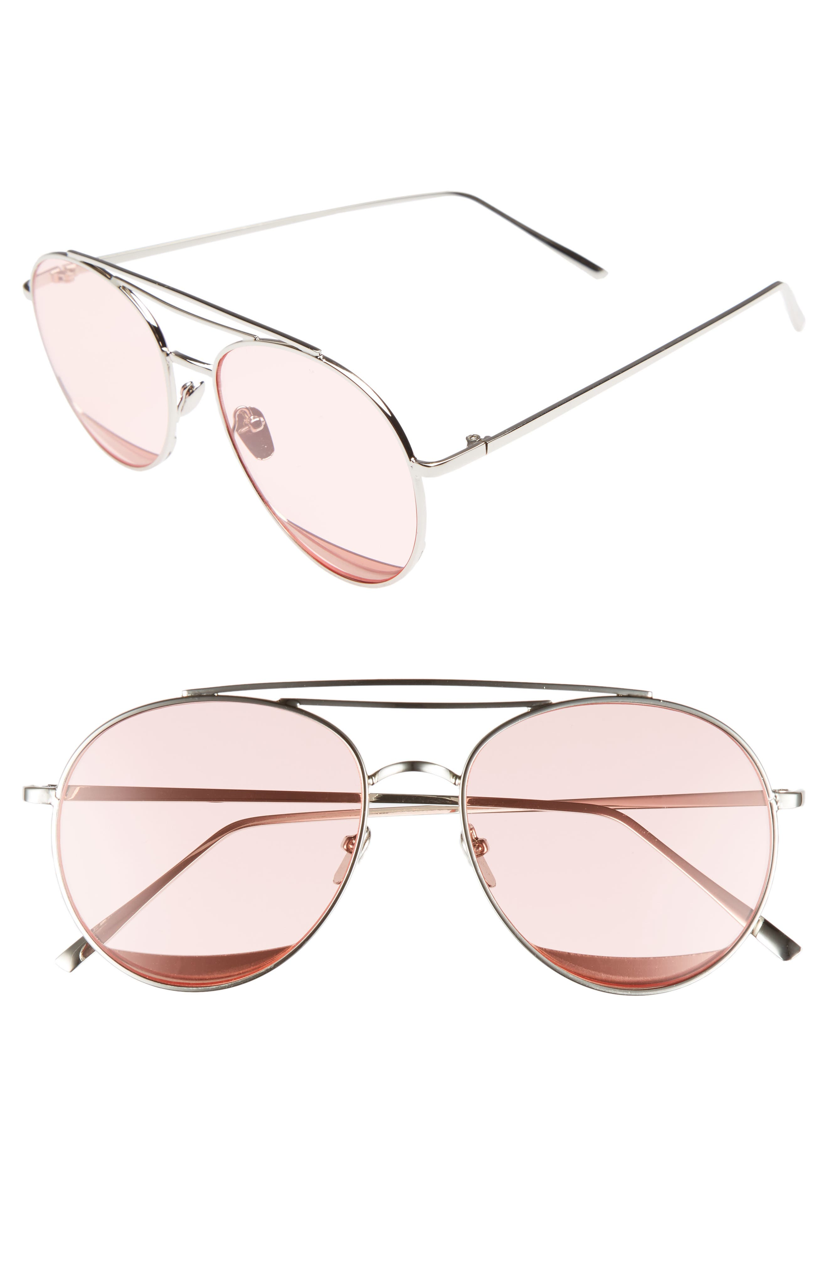 The Maddox 62mm Rimless Aviator Sunglasses,                         Main,                         color, Pink
