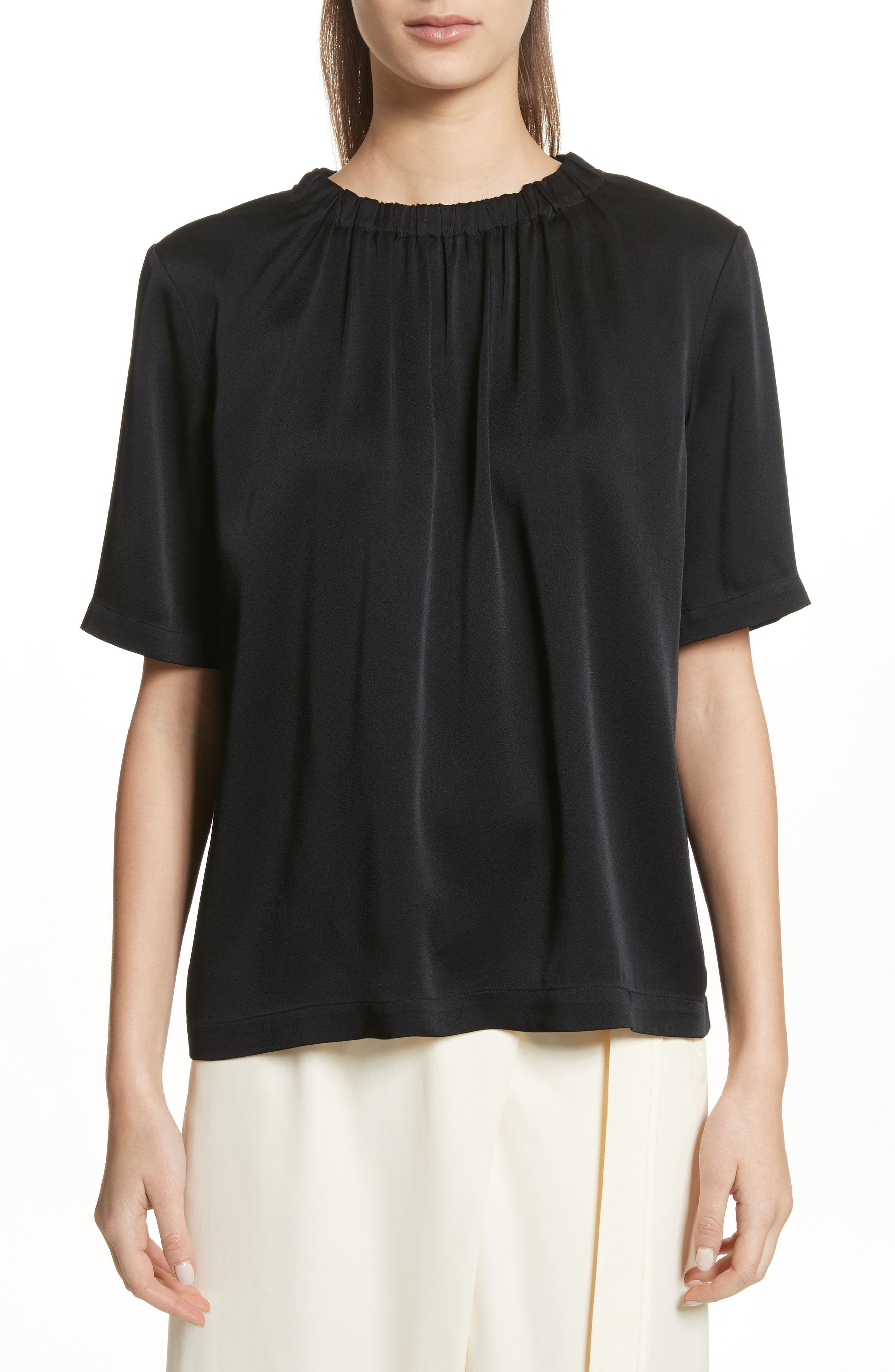 Gathered Neck Short Sleeve Top,                         Main,                         color, Black