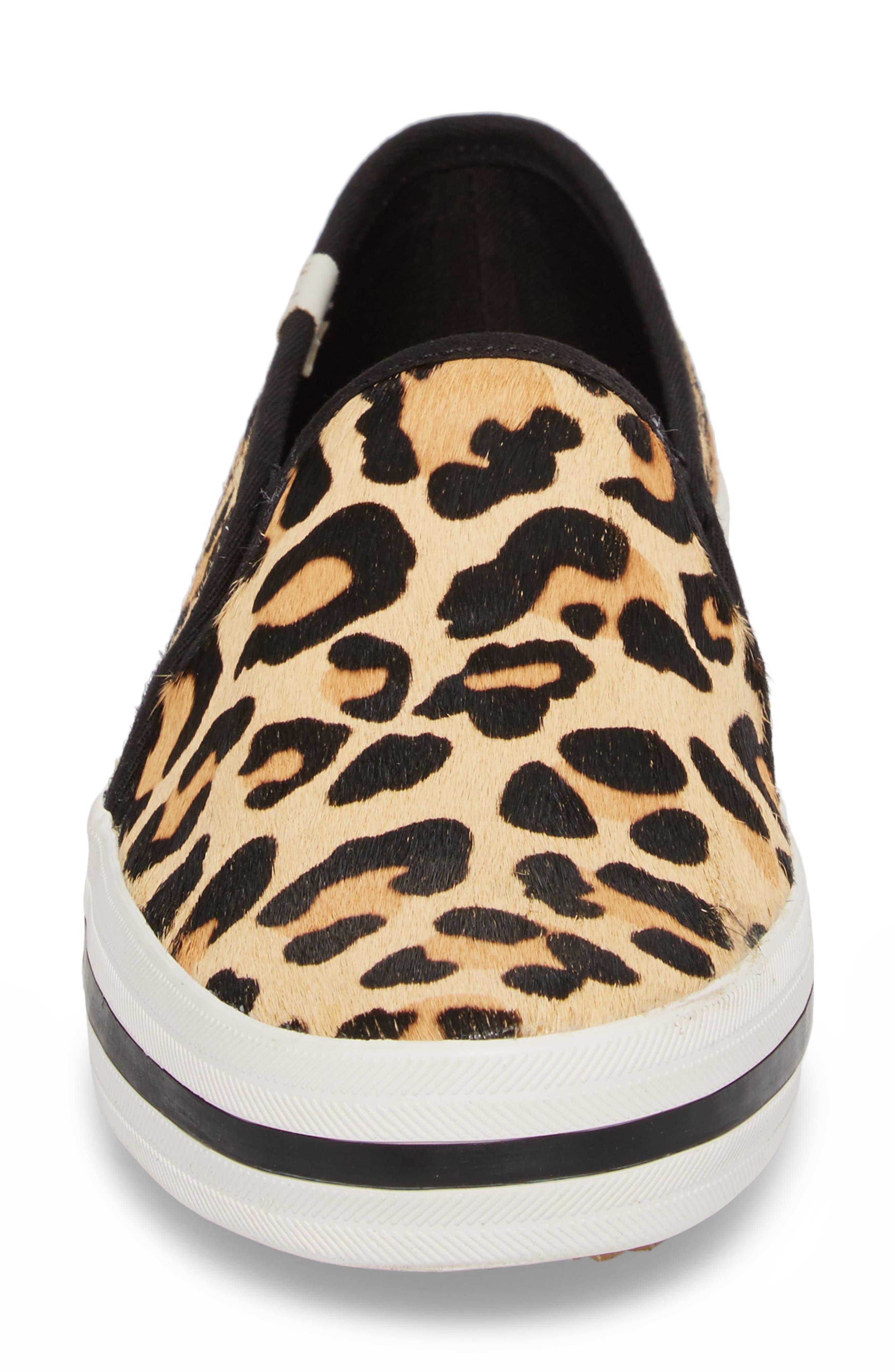 Keds<sup>®</sup> x kate spade Double Decker Slip-On Sneaker,                             Alternate thumbnail 4, color,                             Tan Pony Hair