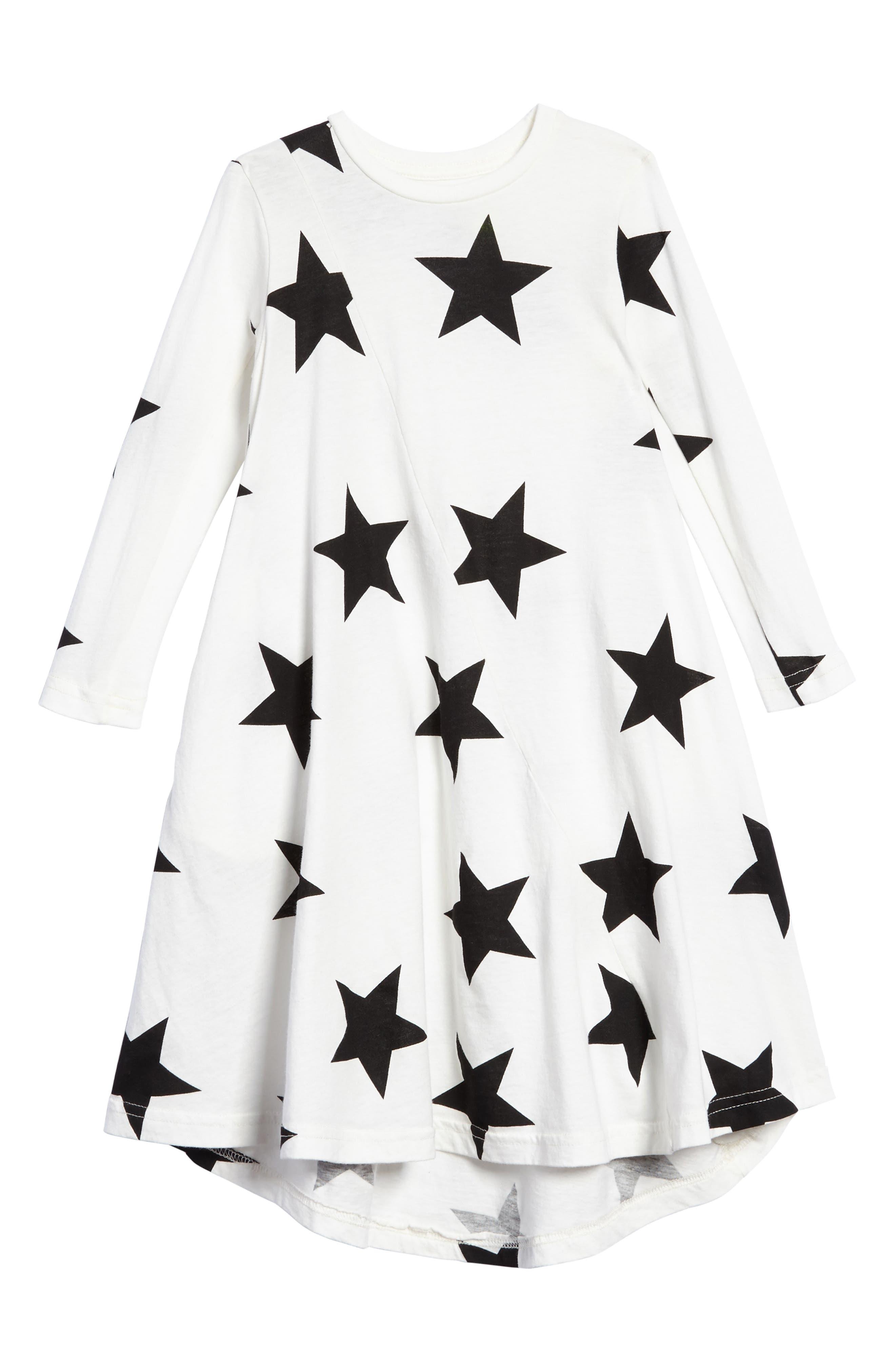 Star Print Maxi Dress,                         Main,                         color, White