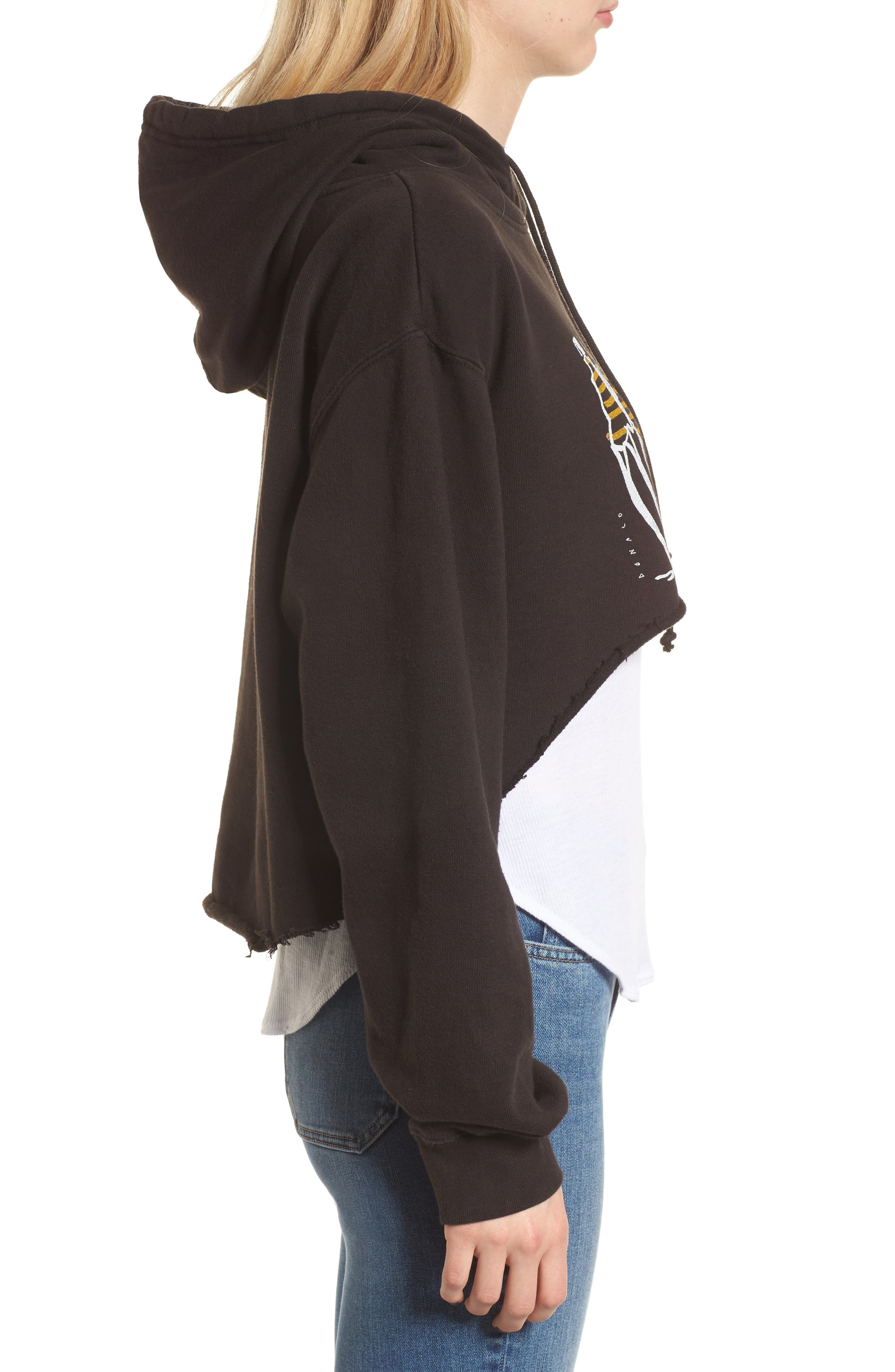 x Donald Robertson Stripe Dresses High/Low Hoodie,                             Alternate thumbnail 3, color,                             Black