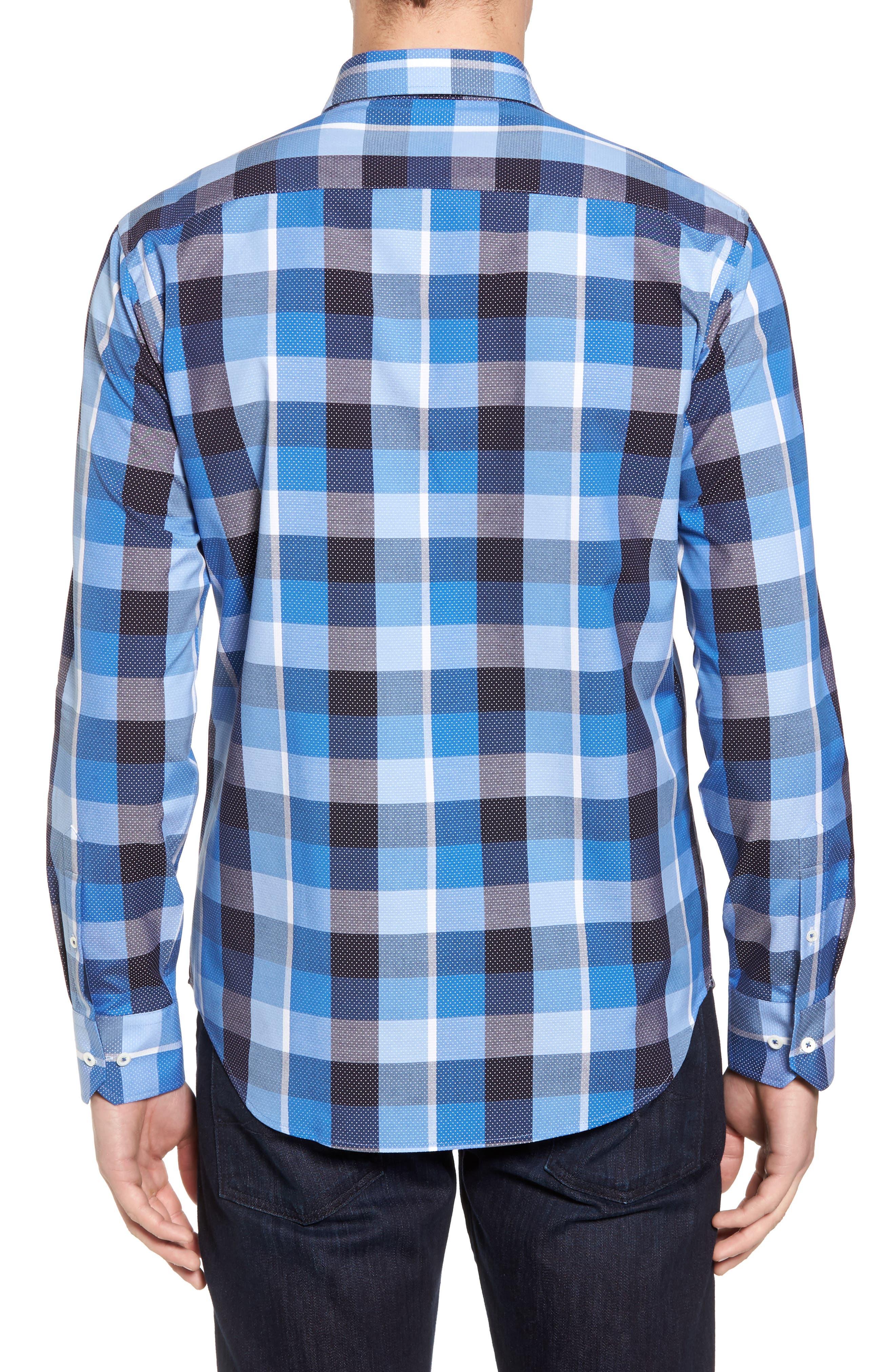 Shaped Fit Check Dot Sport Shirt,                             Alternate thumbnail 2, color,                             Classic Blue