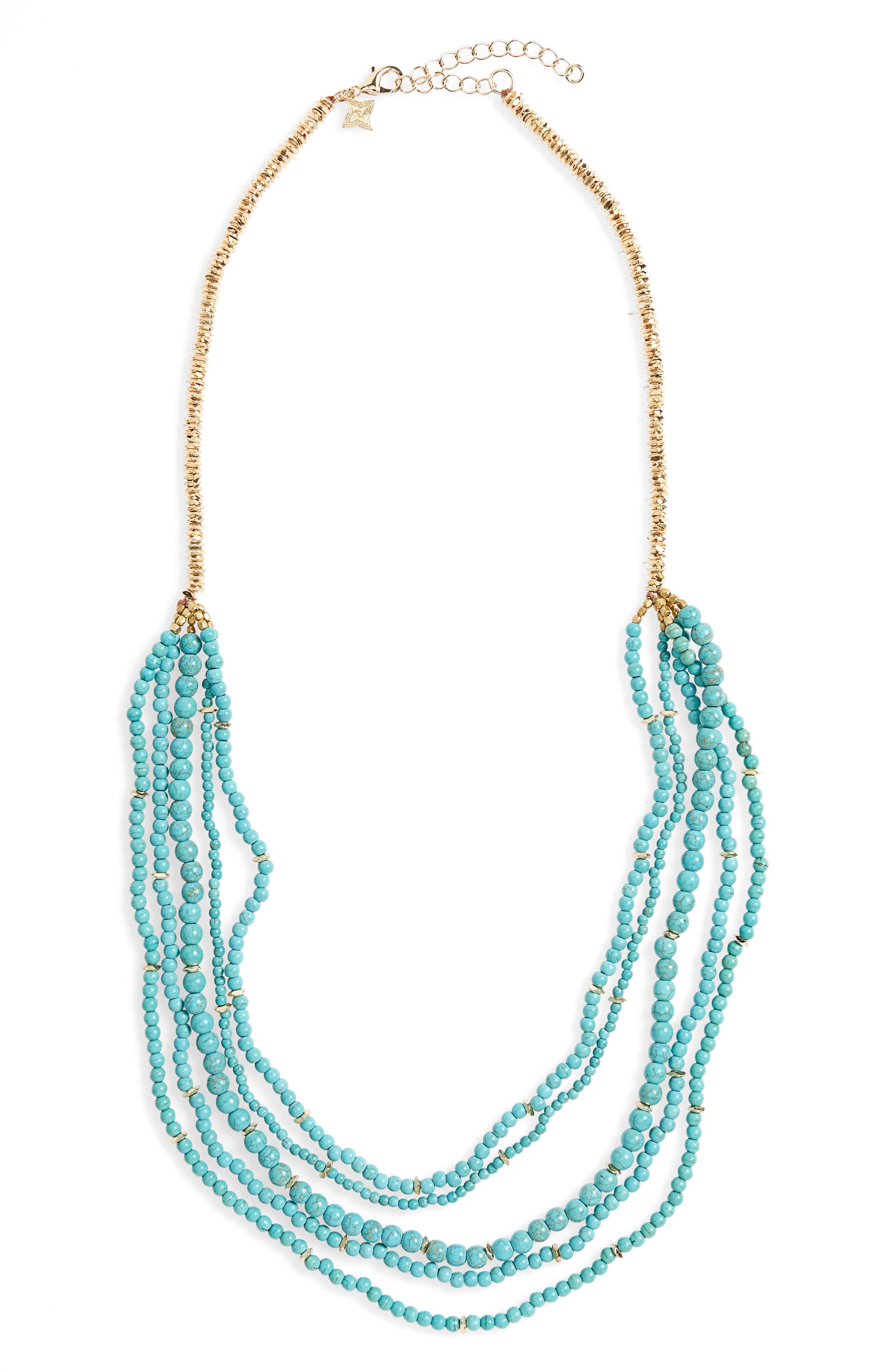 Howlite & Quartz Multistrand Necklace,                         Main,                         color, Turquoise