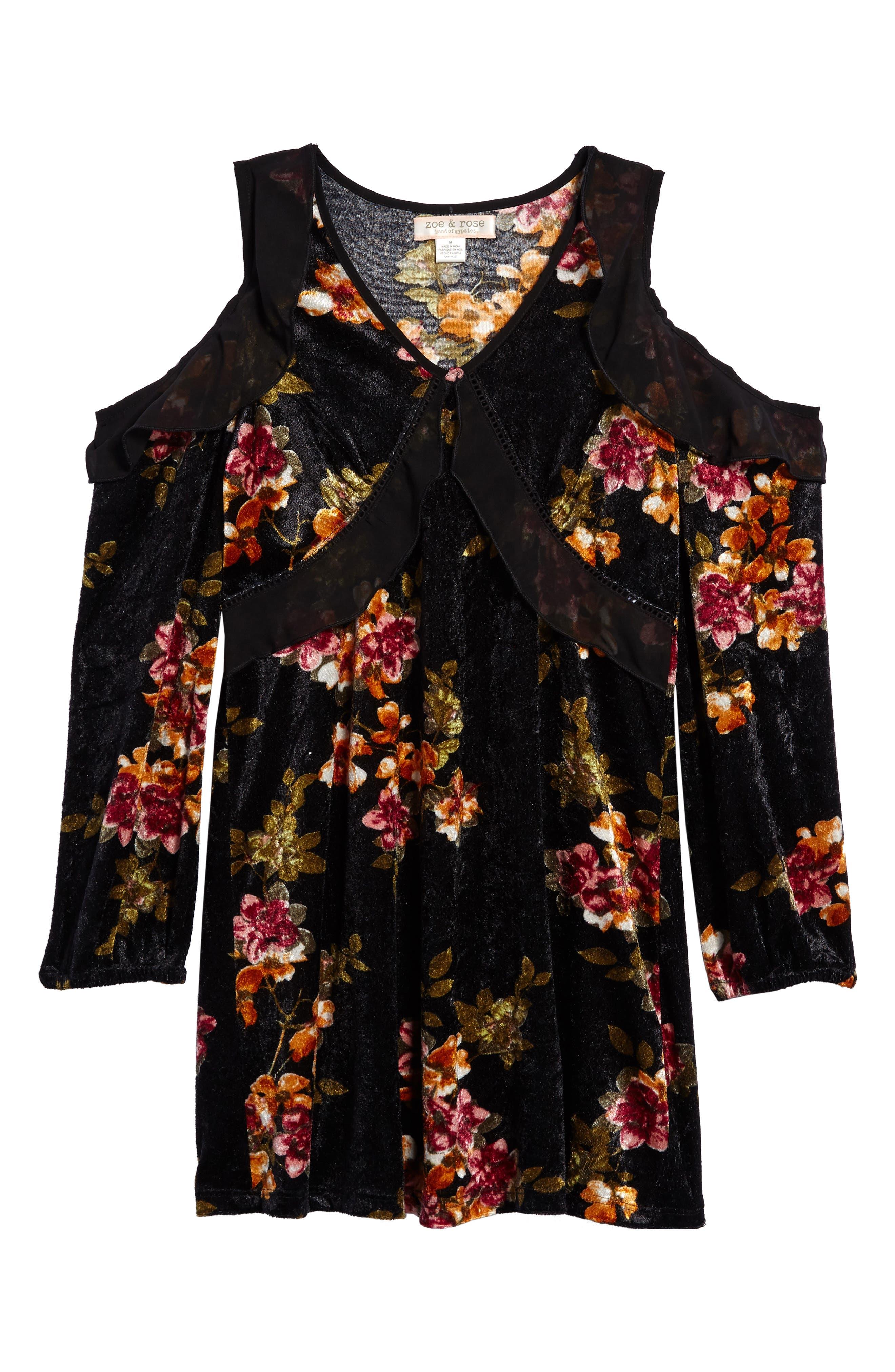 Zoe and Rose Floral Velvet Cold Shoulder Dress (Big Girls)