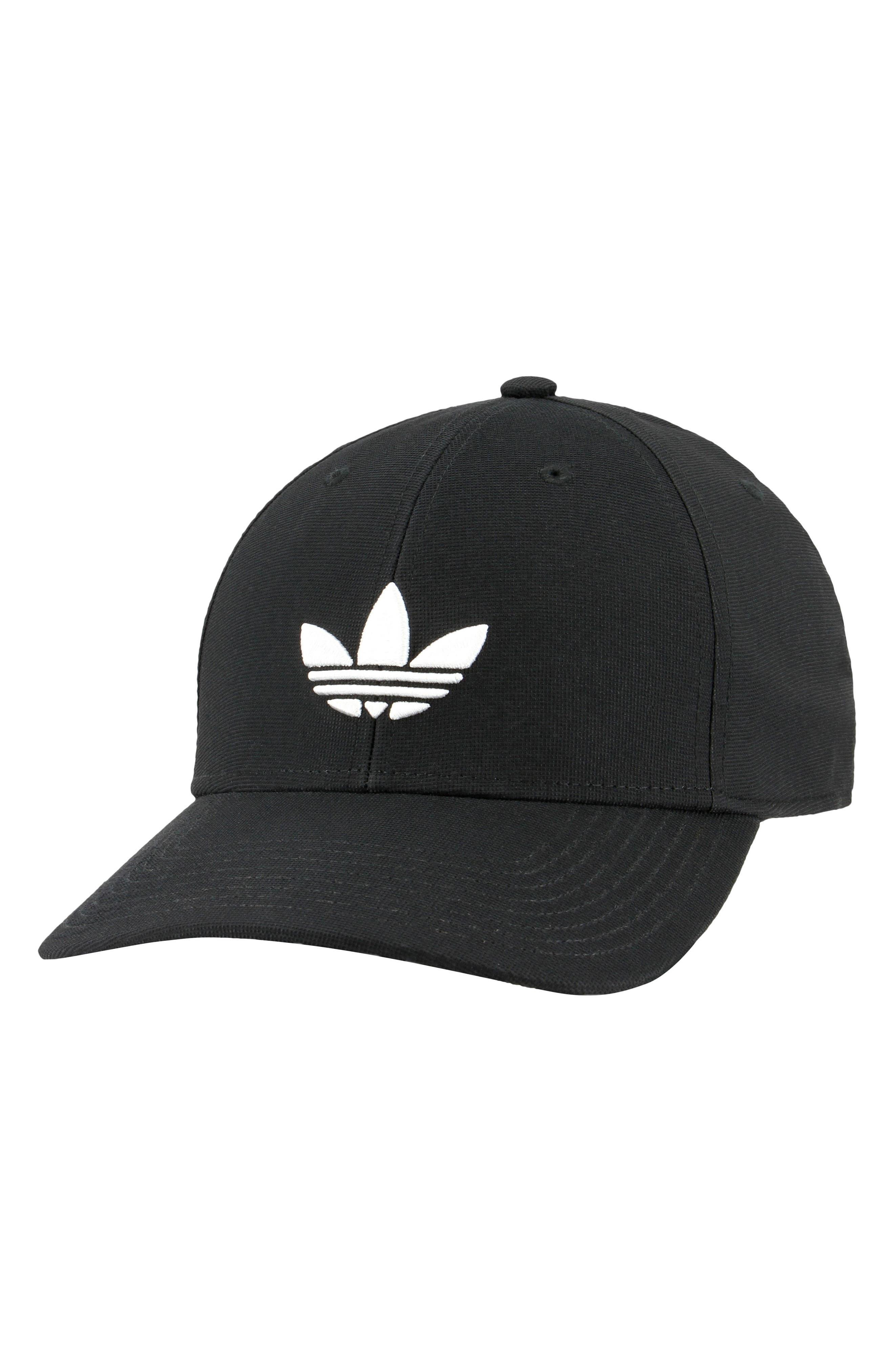 Trefoil Stretch Ball Cap,                         Main,                         color, Black/ White