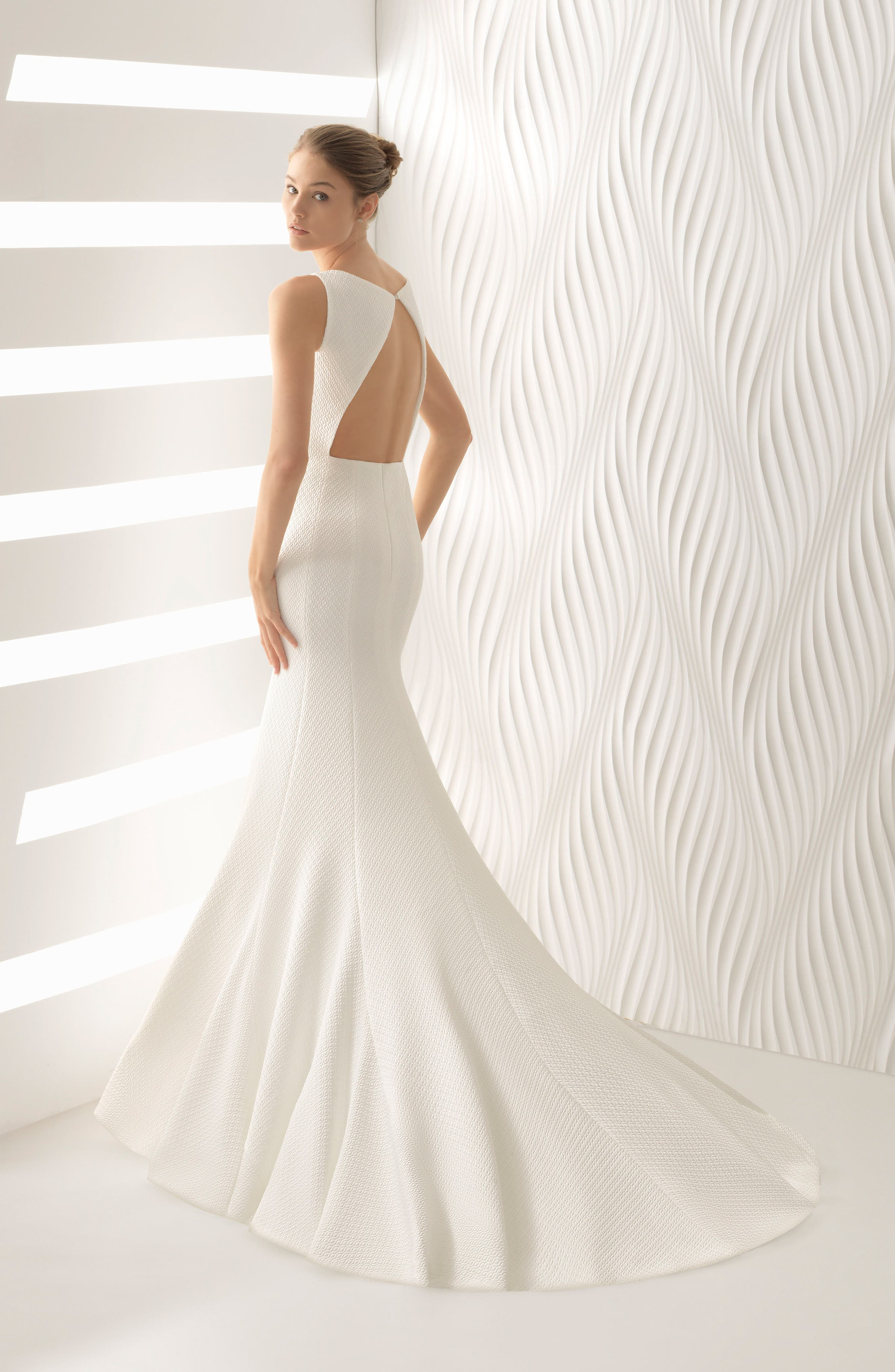 Astral Cloqué Mermaid Gown,                             Alternate thumbnail 2, color,                             Ivory