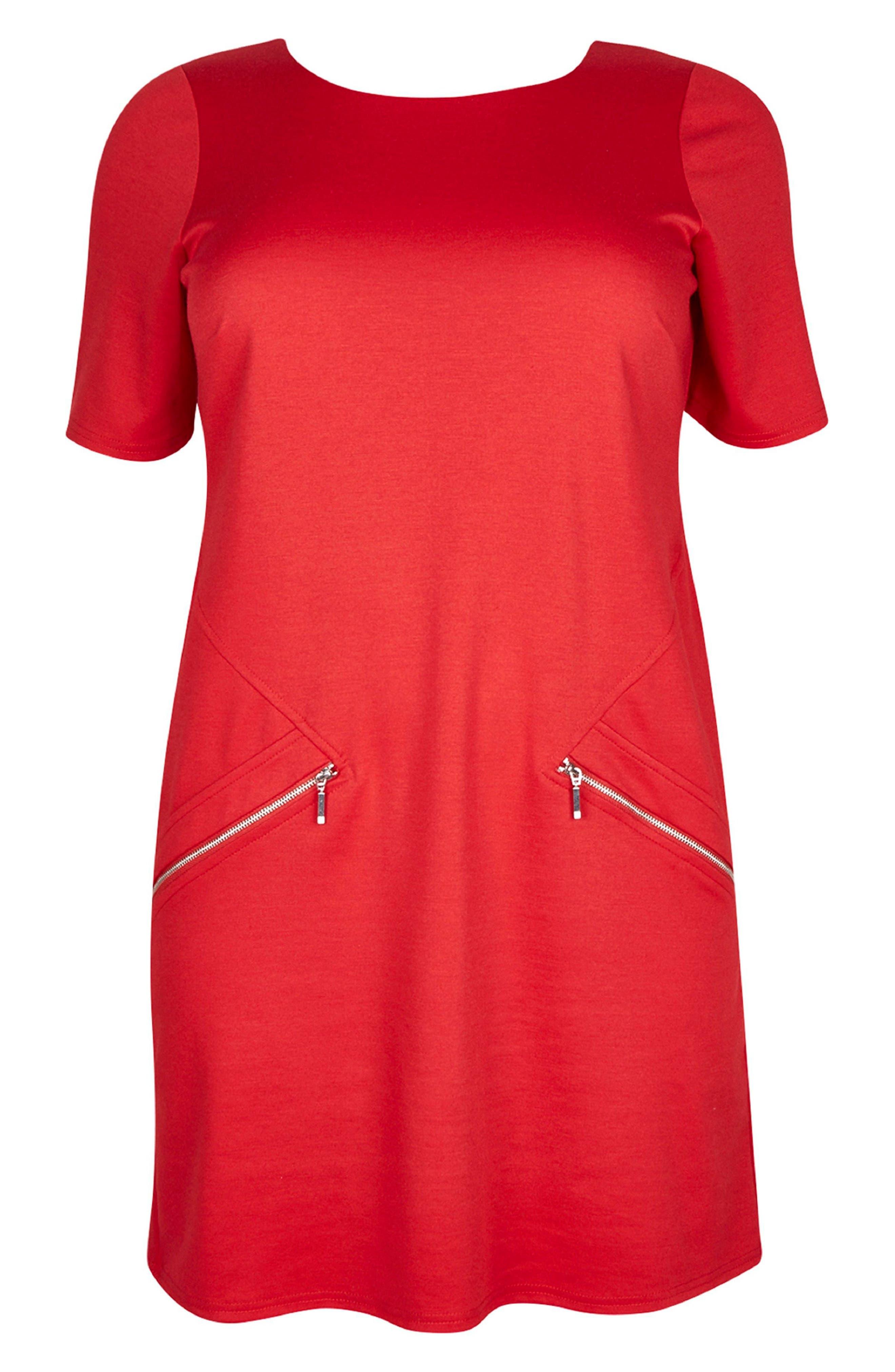 Ponte Knit Tunic Dress,                             Alternate thumbnail 4, color,                             Red