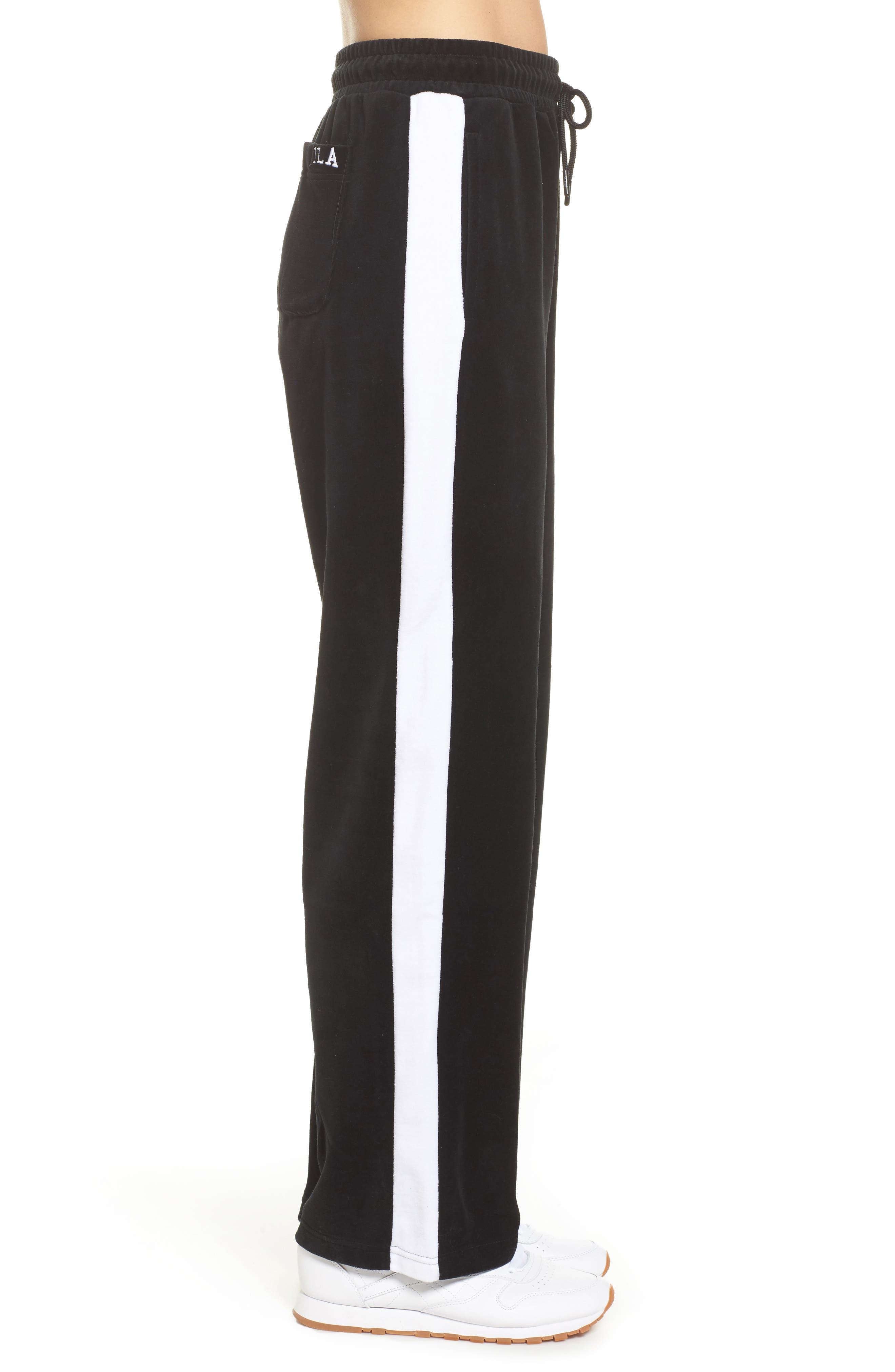 Bonnie Velour Track Pants,                             Alternate thumbnail 3, color,                             Black/ White