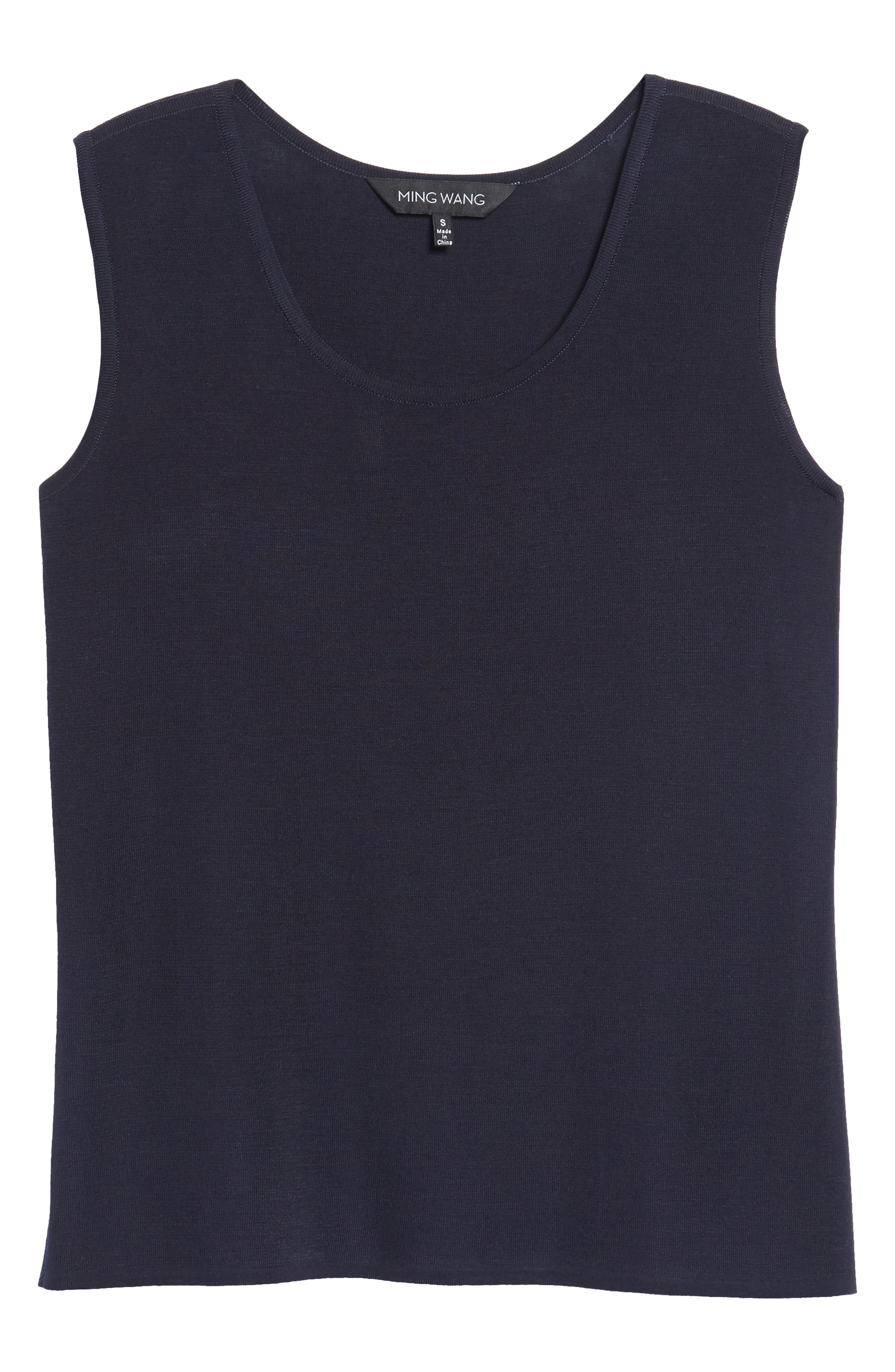 Scoop Neck Knit Tank,                             Alternate thumbnail 6, color,                             Navy