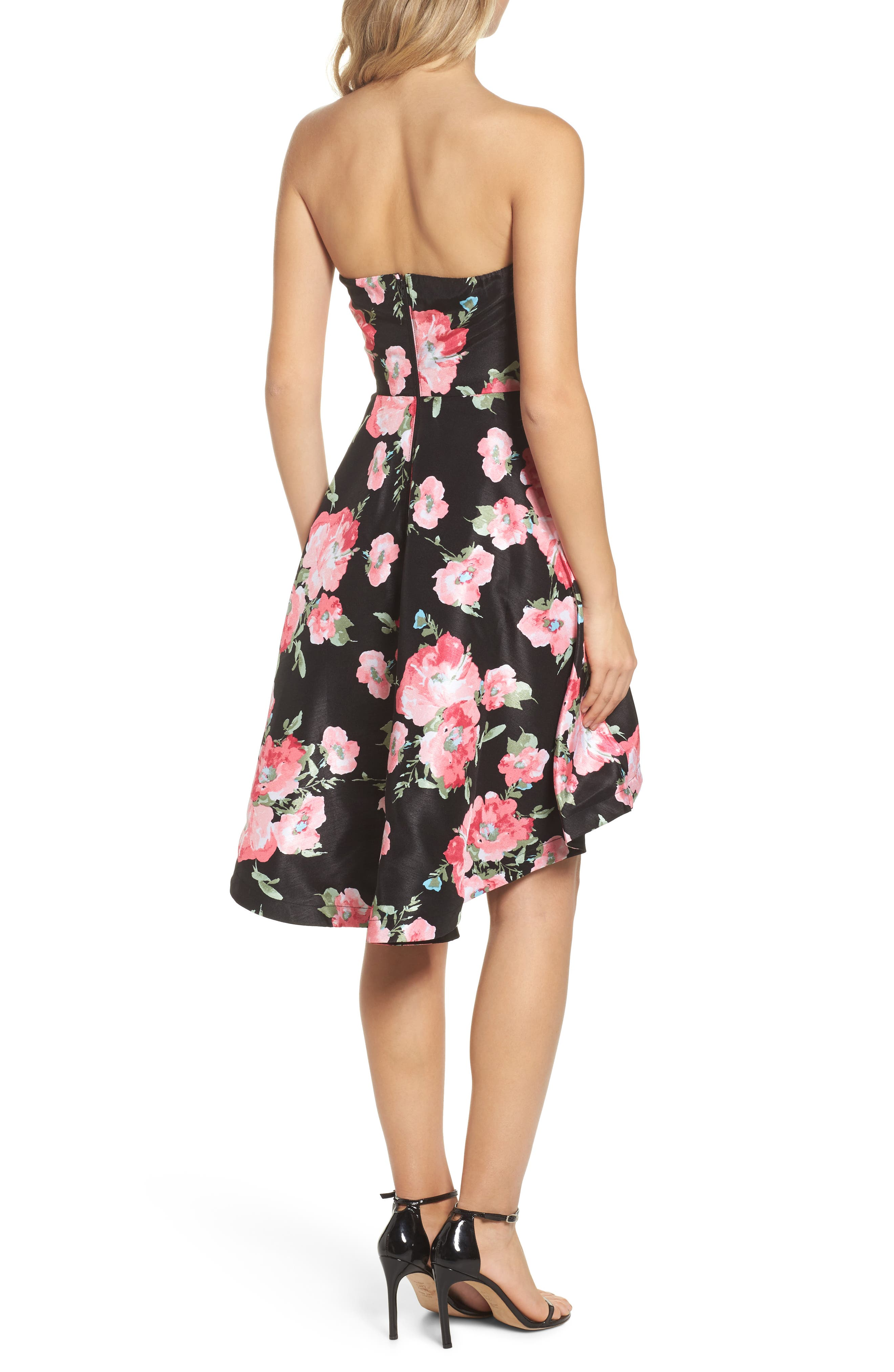 Floral High/Low Strapless Dress,                             Alternate thumbnail 2, color,                             Black/ Rose