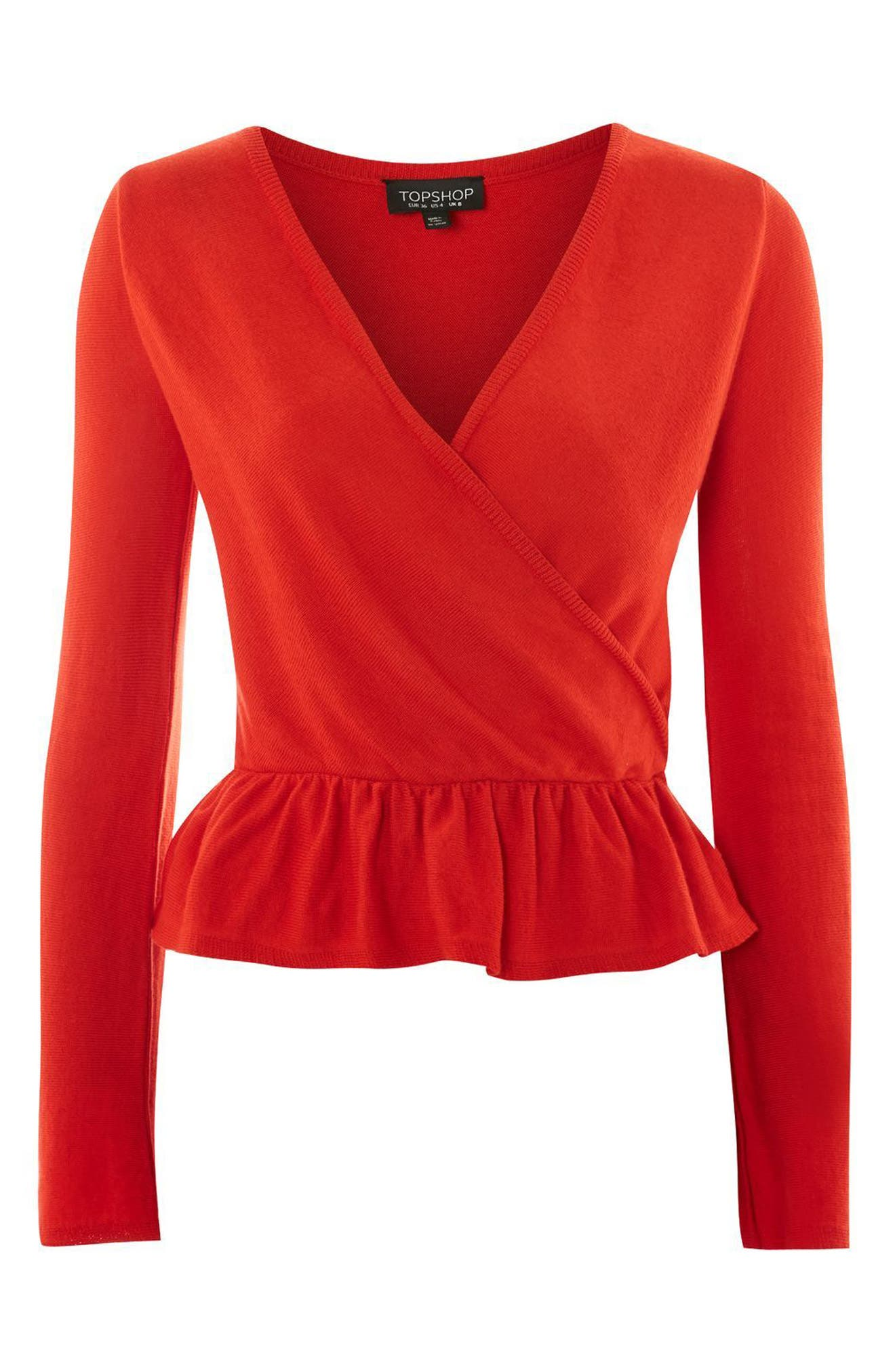 Peplum Wrap Sweater,                             Alternate thumbnail 3, color,                             Red
