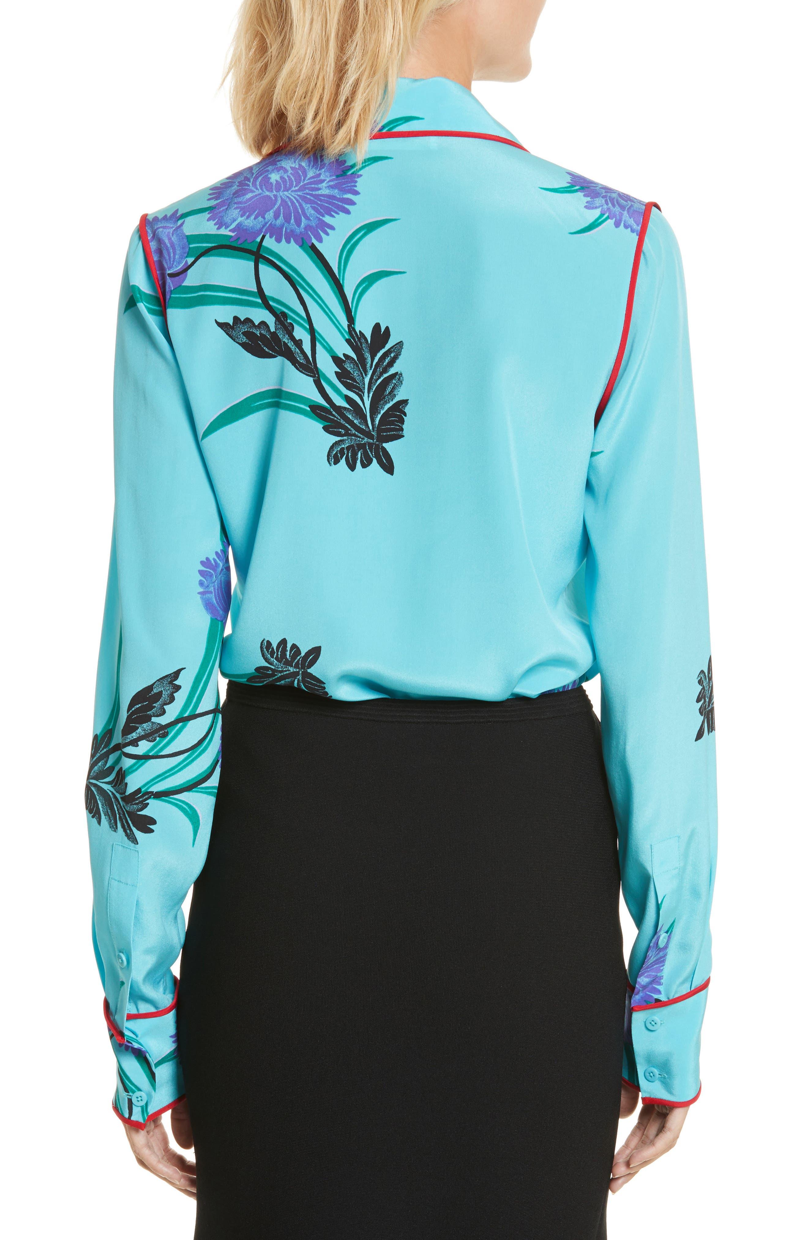 Floral Print Stretch Silk Shirt,                             Alternate thumbnail 2, color,                             Farren Marine