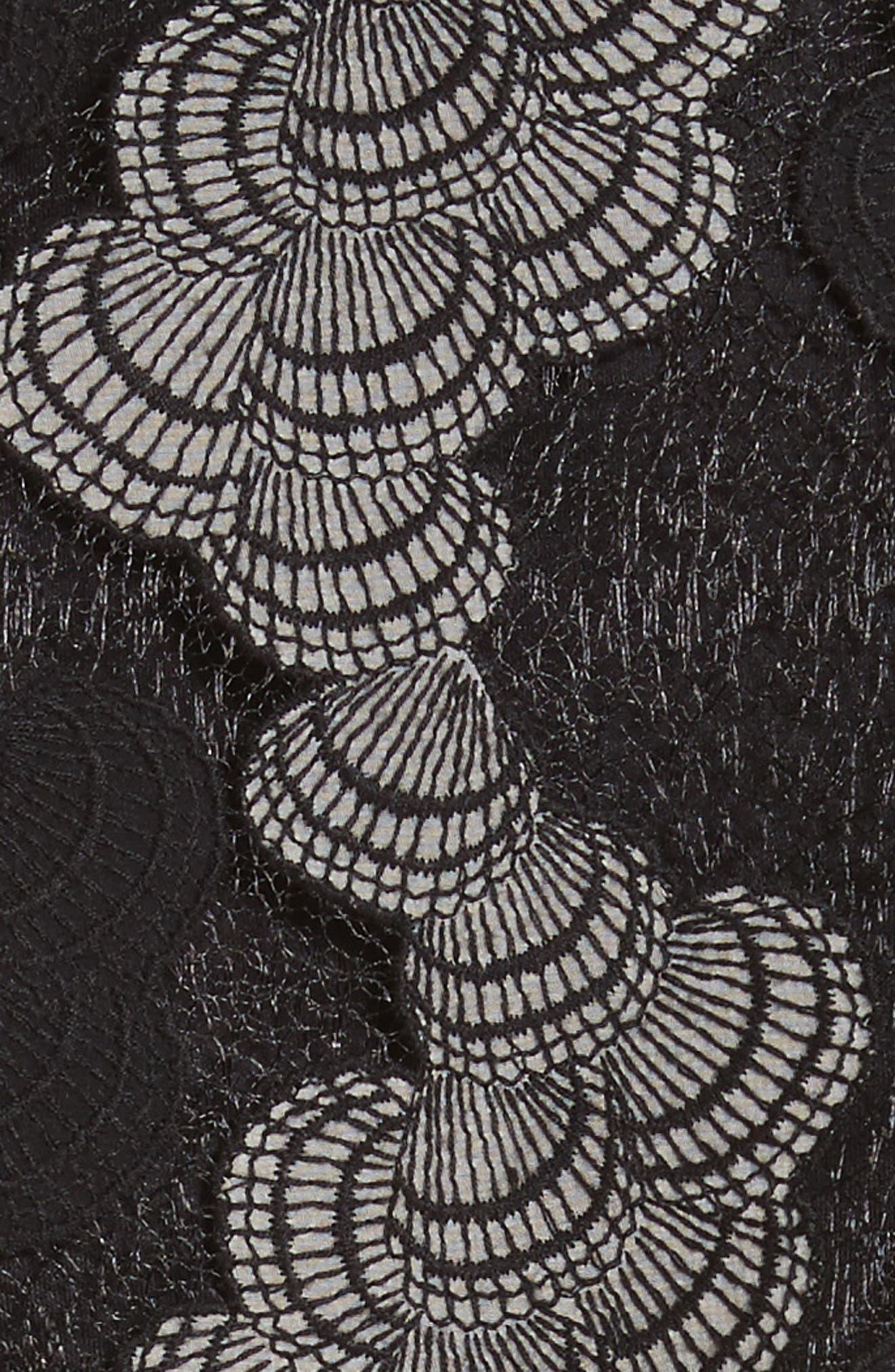 Seashell Lace Moto Jacket,                             Alternate thumbnail 6, color,                             Jet/ Optic