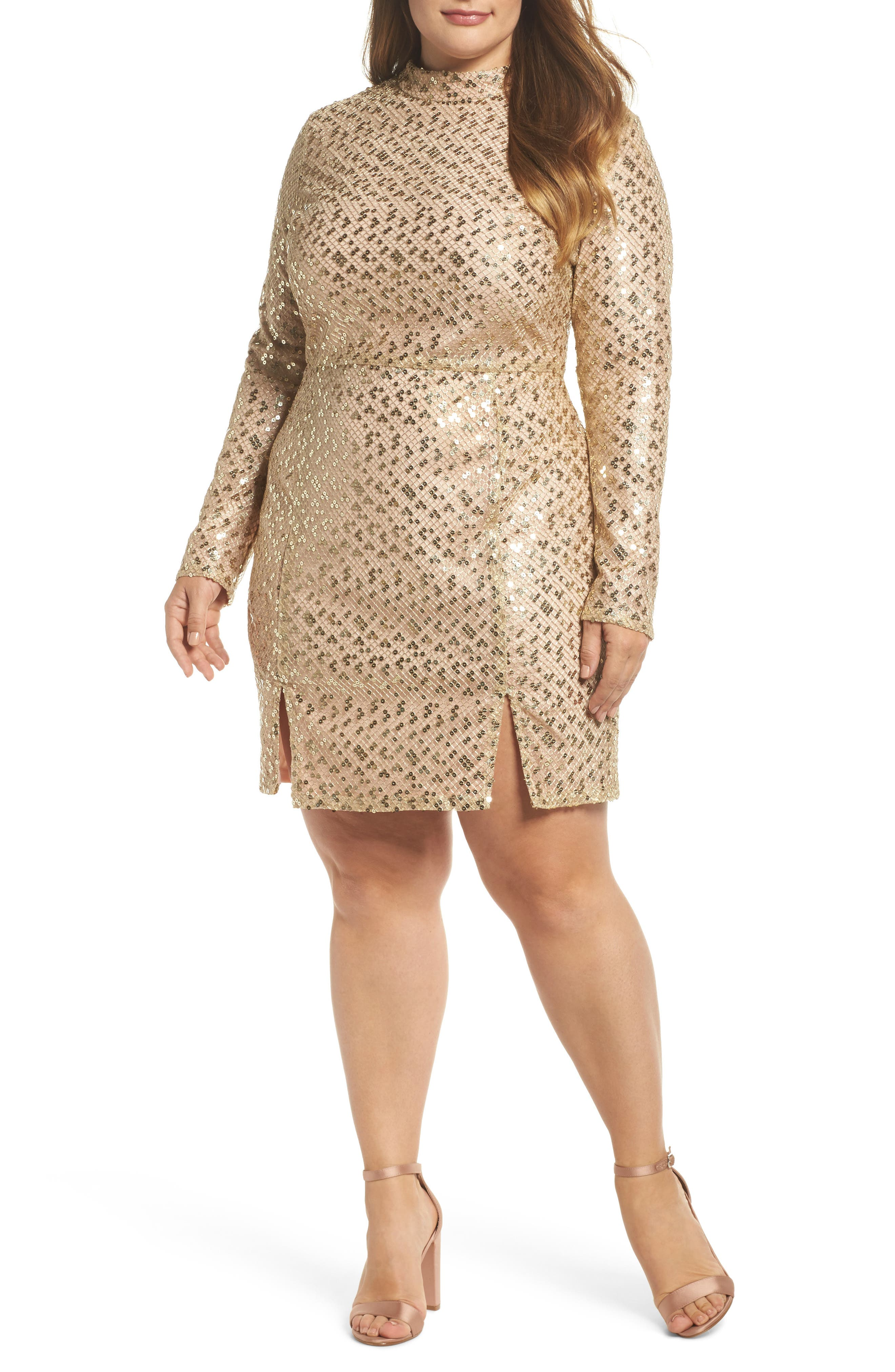 Mock Neck Sequin Embroidered Body-Con Dress,                         Main,                         color, Nude Gold