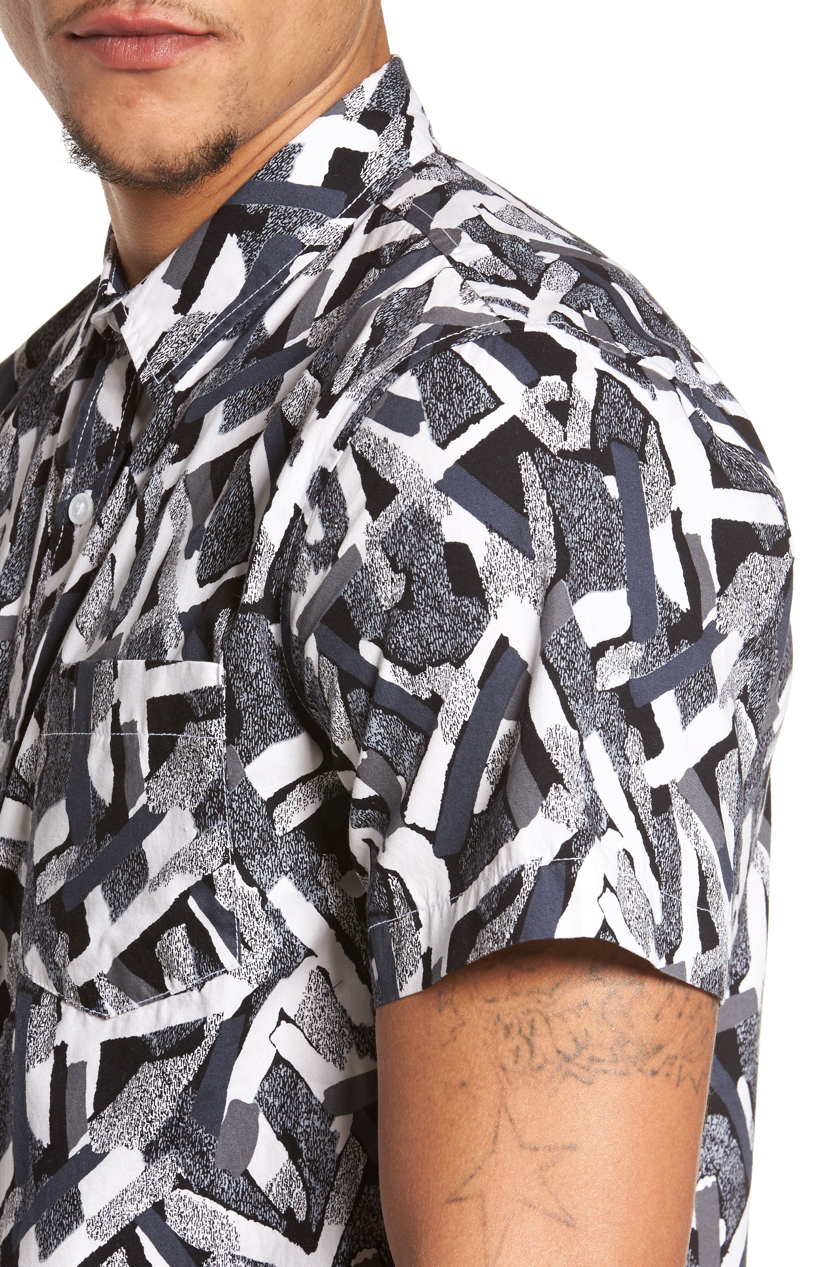 Short Sleeve Print Poplin Shirt,                             Alternate thumbnail 2, color,                             Grey Geo Cross Hatch