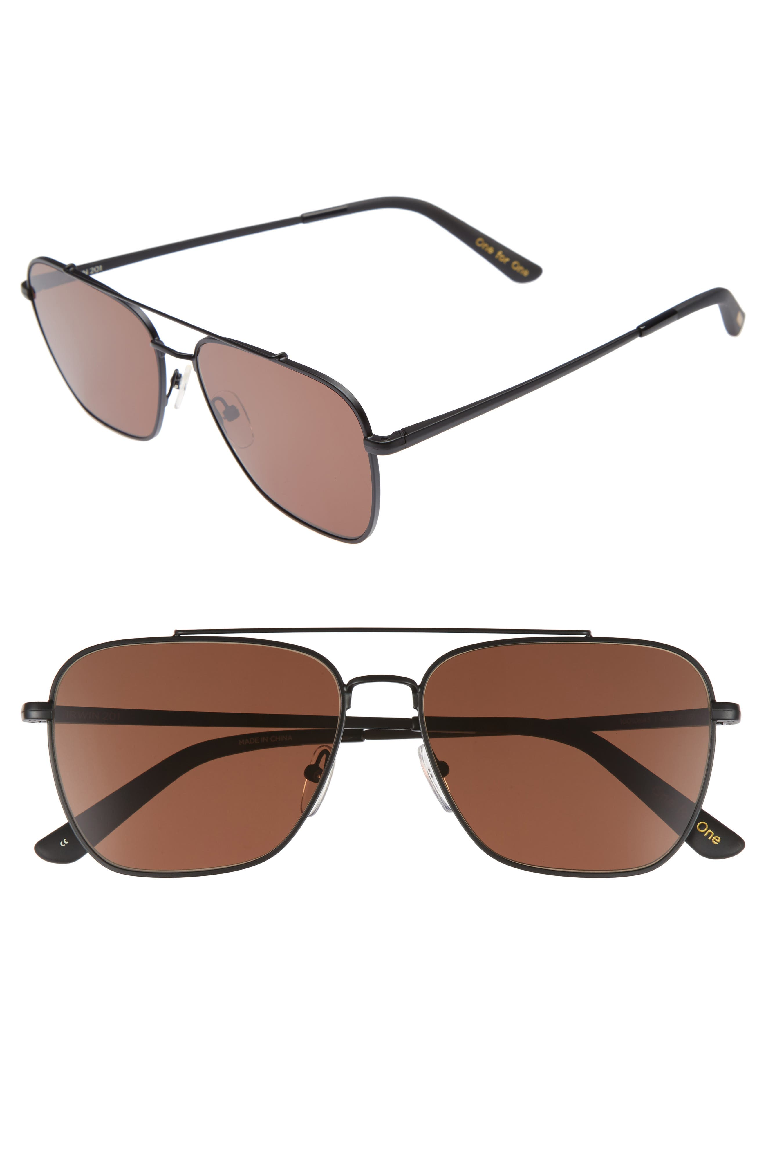Irwin 58mm Sunglasses,                             Main thumbnail 1, color,                             Matte Black