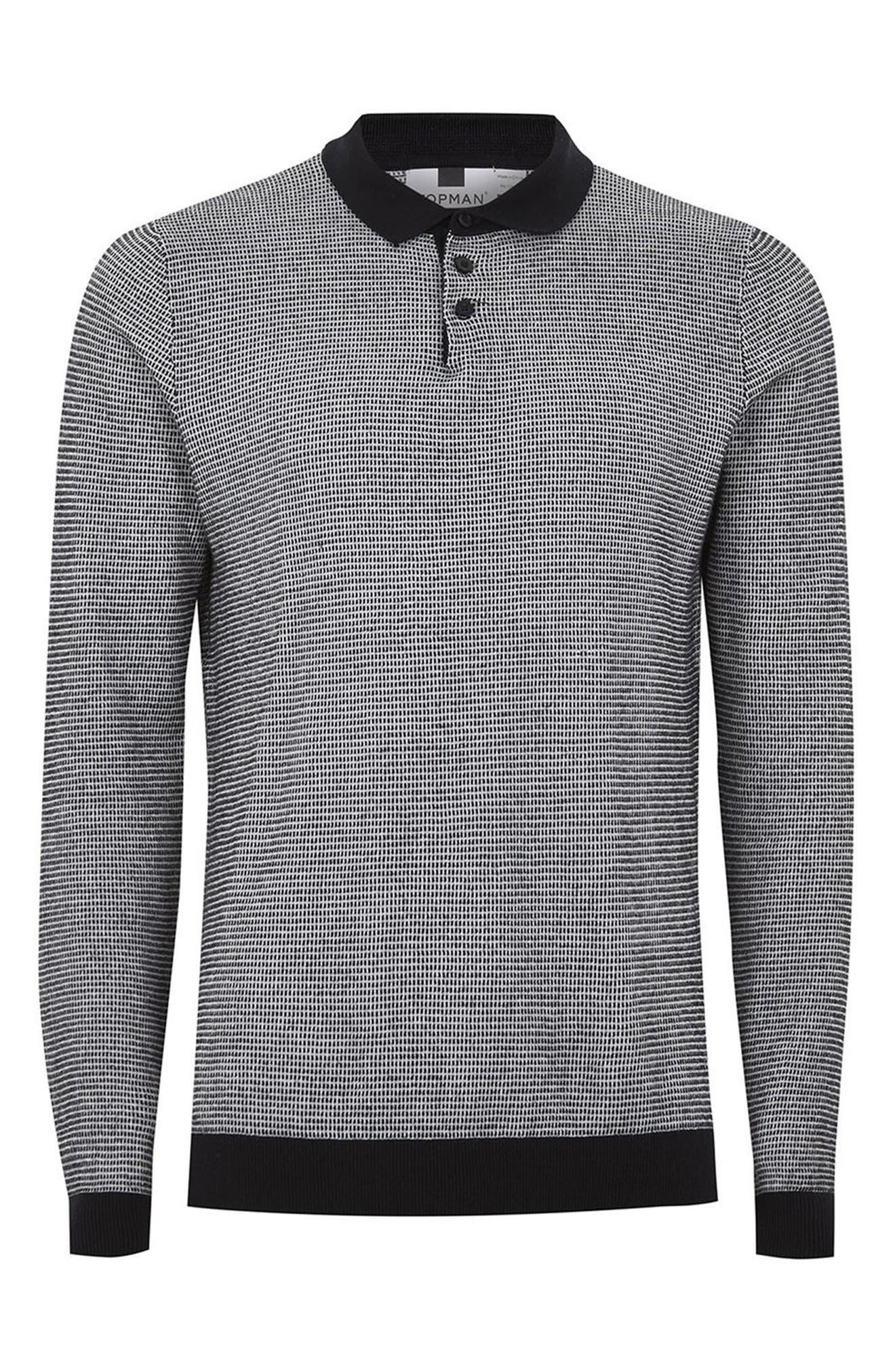 Long Sleeve Texture Polo,                             Alternate thumbnail 4, color,                             Black Multi