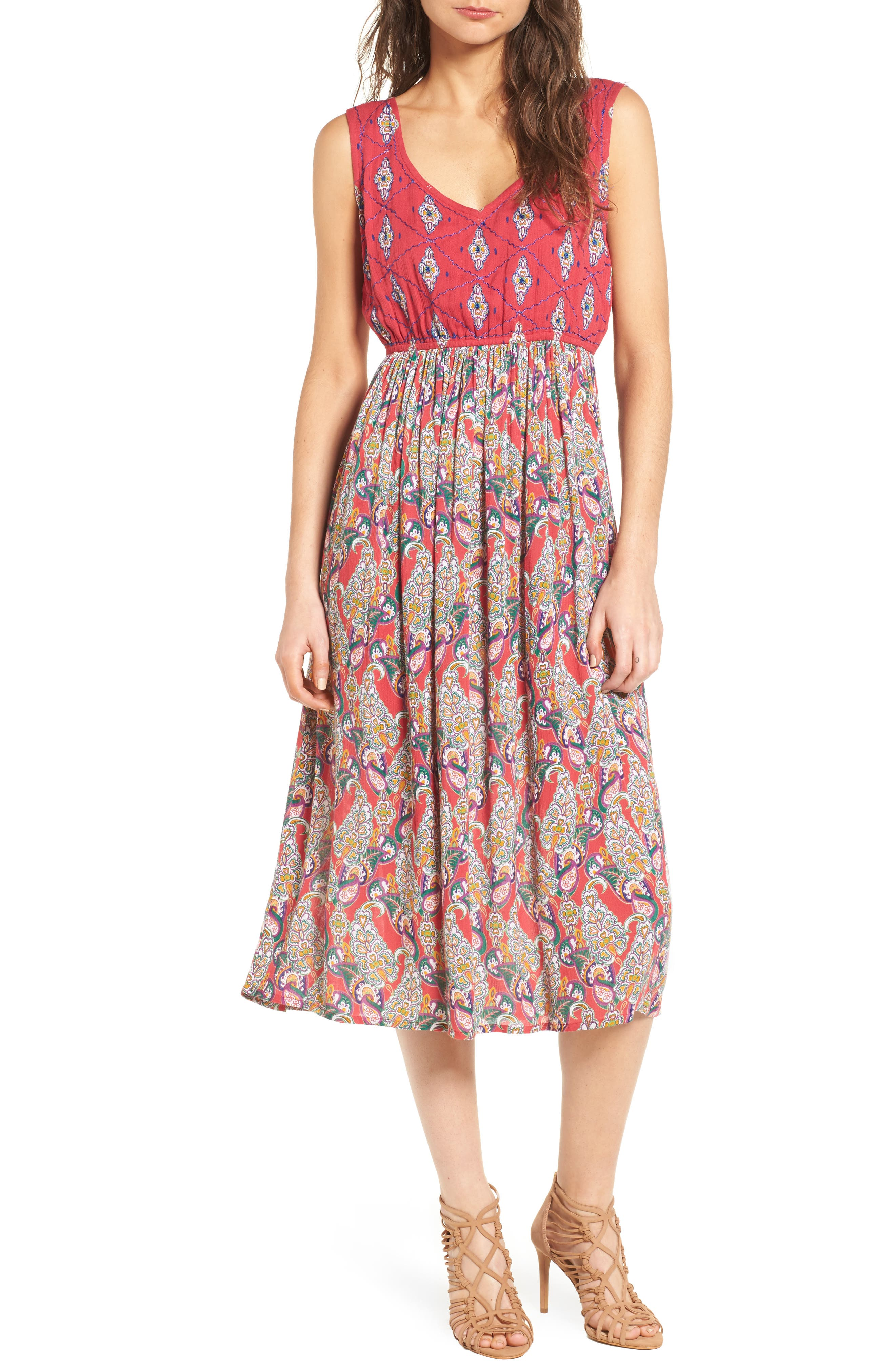 Alice Cut Out Back Midi Dress,                         Main,                         color, Lipstick Red