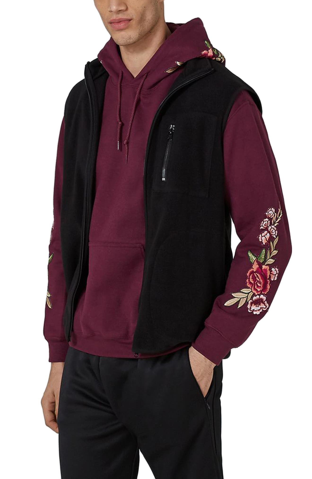 Rose Embroidered Hoodie,                             Main thumbnail 1, color,                             Burgundy Multi