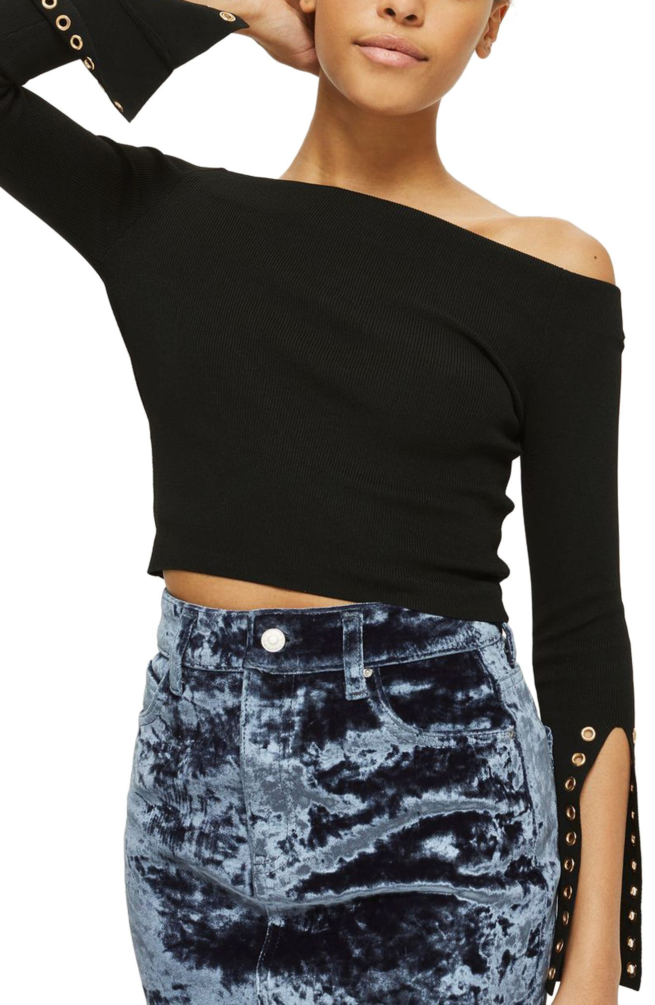Eyelet Cuff Off the Shoulder Sweater,                             Alternate thumbnail 3, color,                             Black
